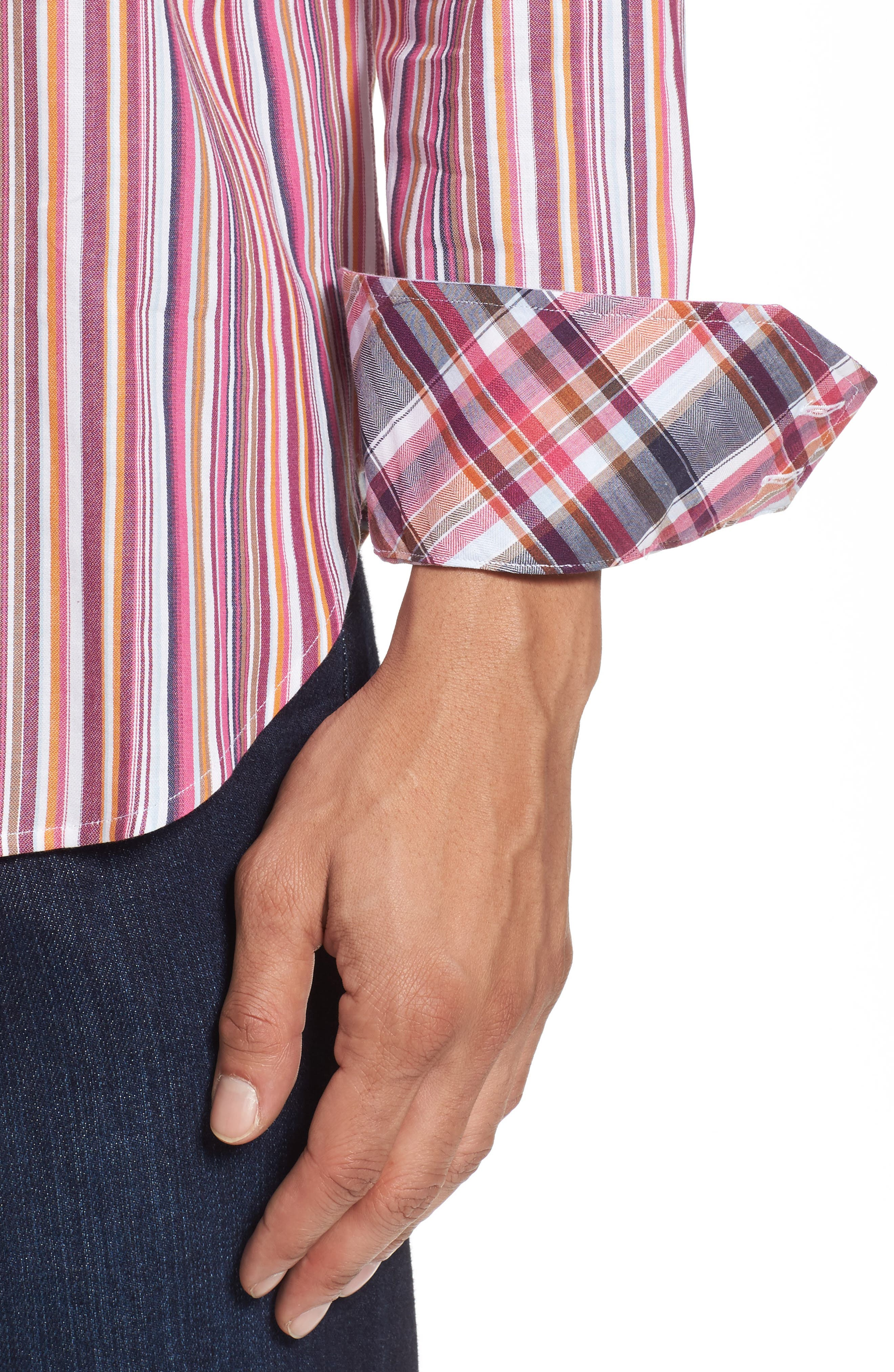 Regular Fit Stripe Sport Shirt,                             Alternate thumbnail 4, color,