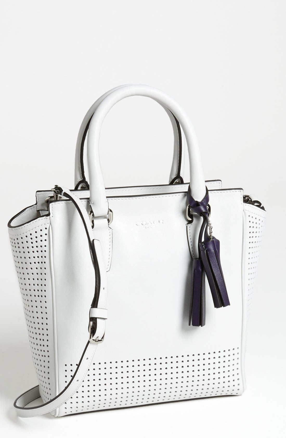 'Legacy Tanner - Mini' Perforated Leather Tote,                             Main thumbnail 1, color,                             100