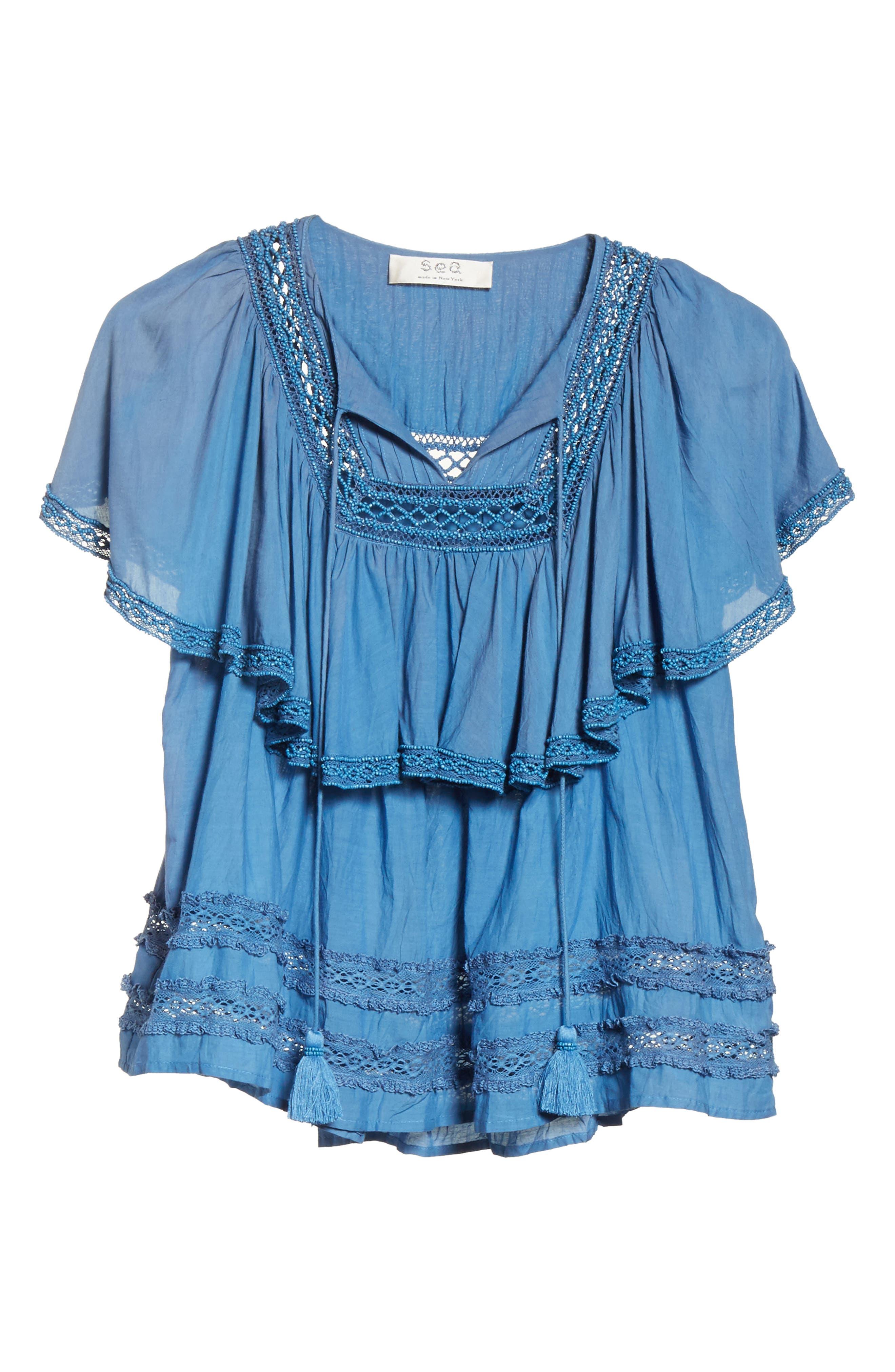 Adaline Ruffle Cotton Blouse,                             Alternate thumbnail 6, color,                             400