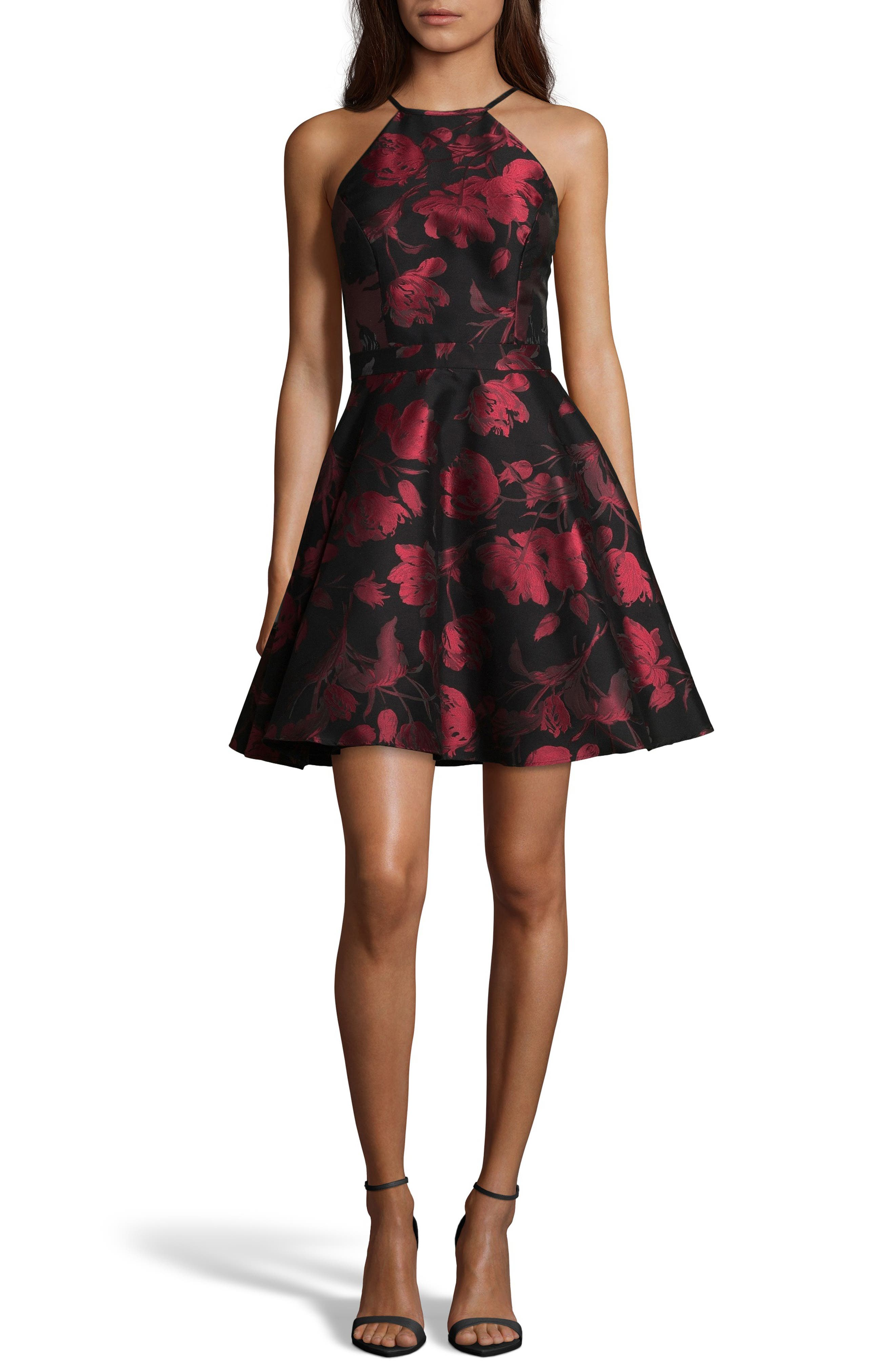 Halter Neck Brocade Fit and Flare Party Dress,                             Main thumbnail 1, color,                             BLACK/ RED
