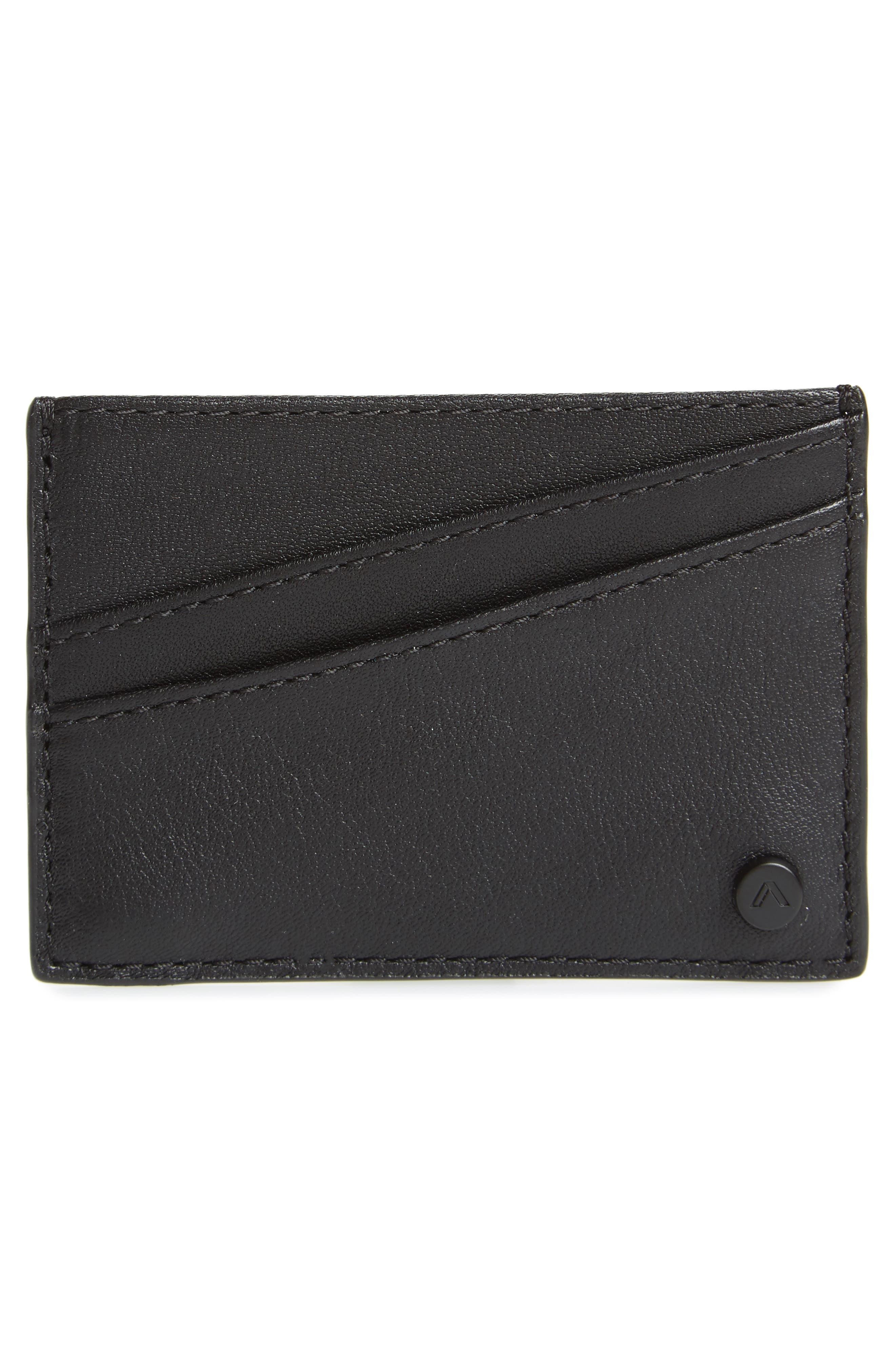 Parkville Monaco Leather Card Case,                             Alternate thumbnail 2, color,                             BLACK