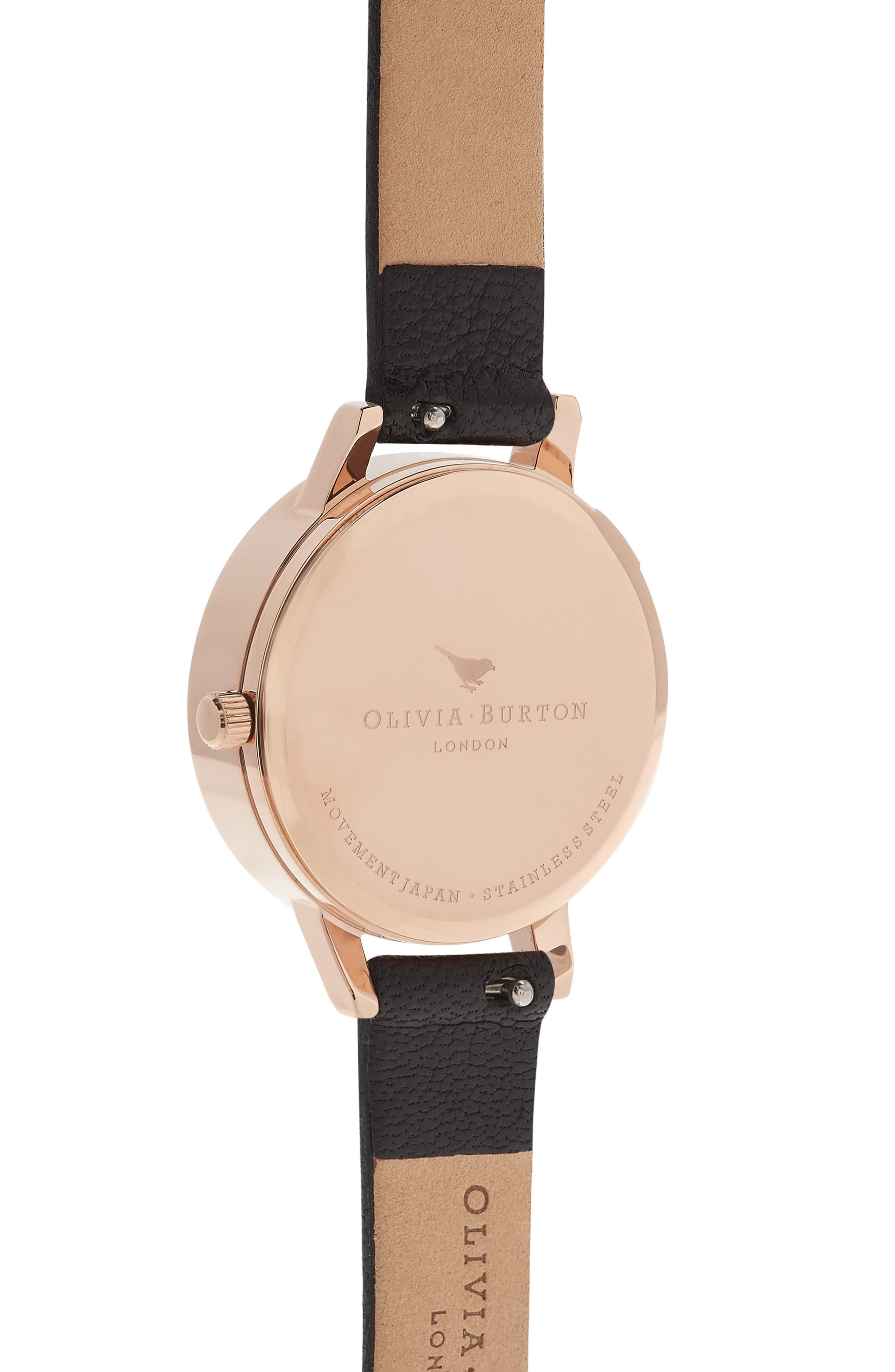 OLIVIA BURTON,                             Bejewelled Florals Leather Strap Watch, 30mm,                             Alternate thumbnail 2, color,                             001