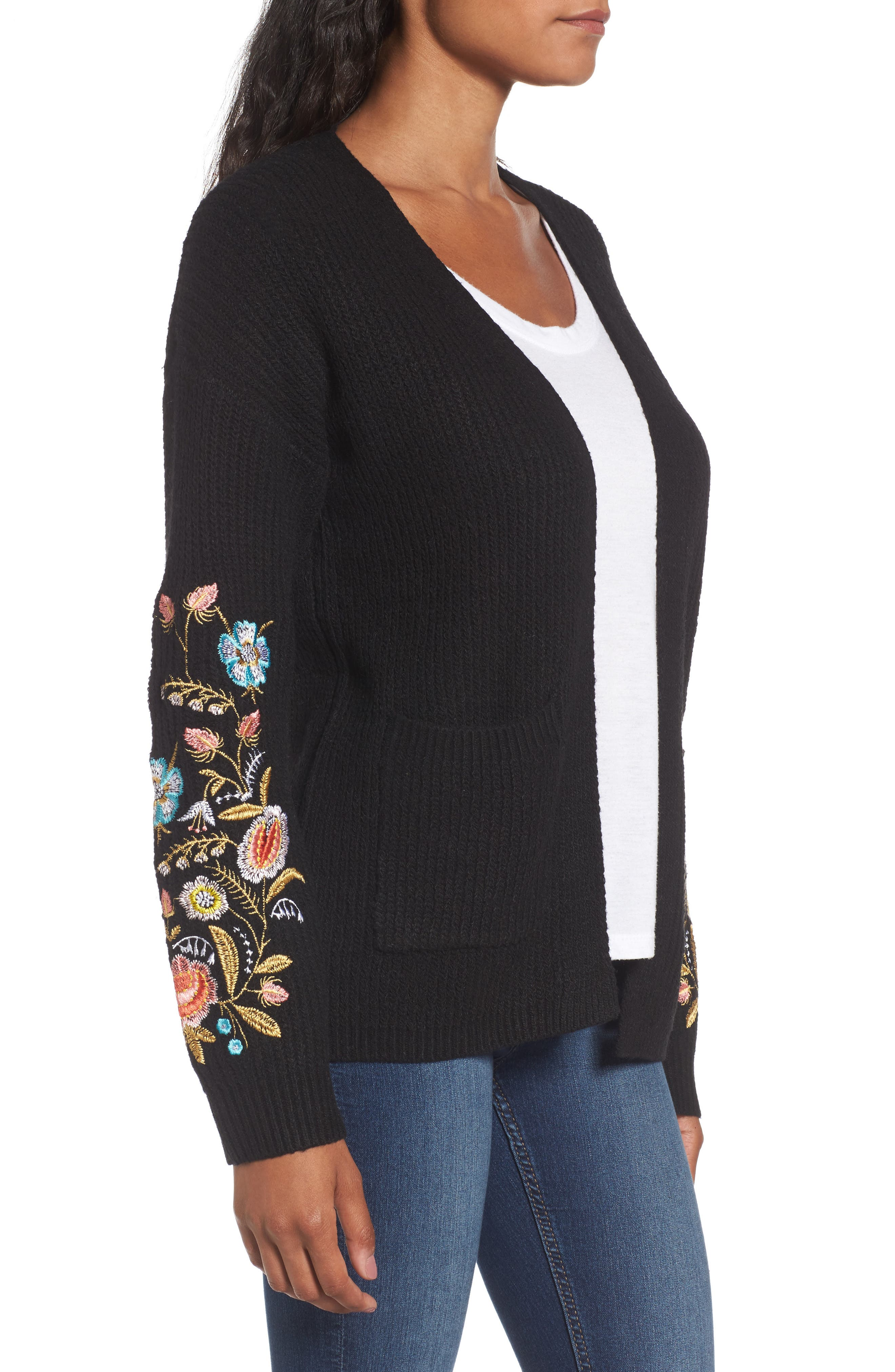 Embroidered Cardigan,                             Alternate thumbnail 3, color,                             001