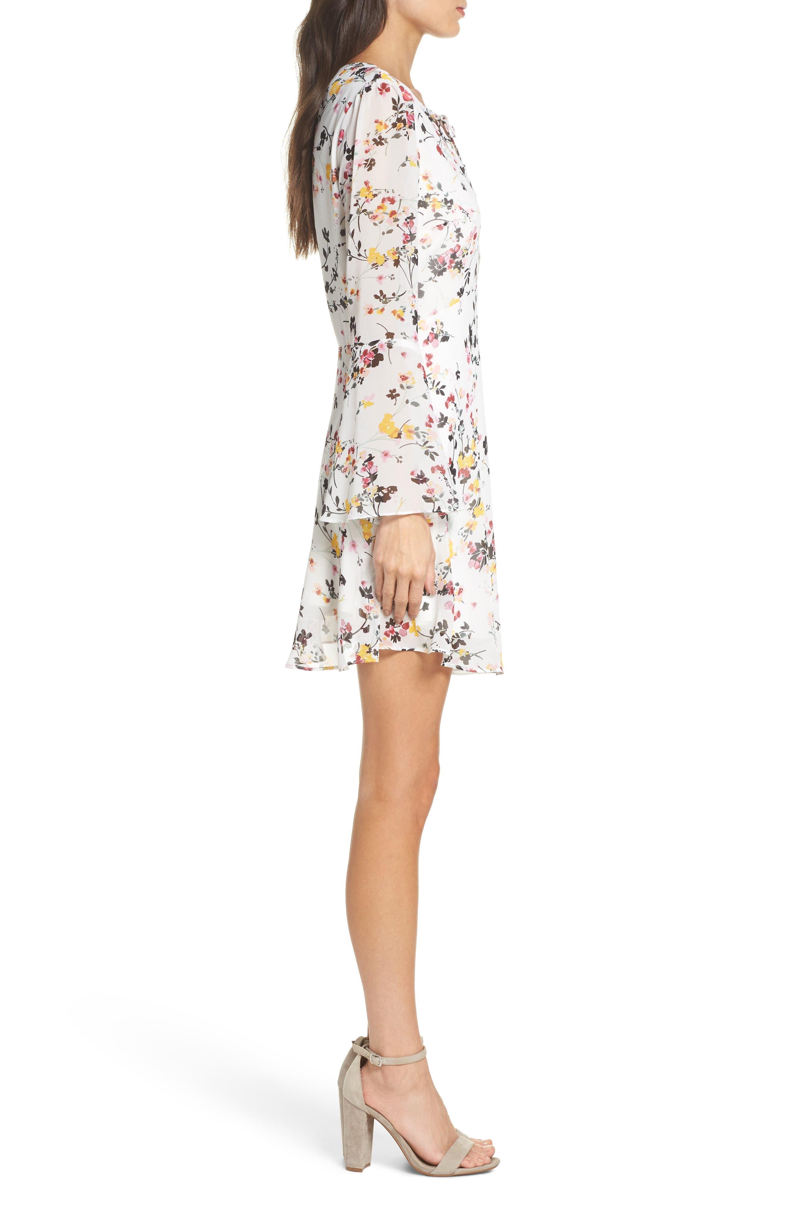 Bell Sleeve A-Line Dress,                             Alternate thumbnail 3, color,                             WHITE MULTI