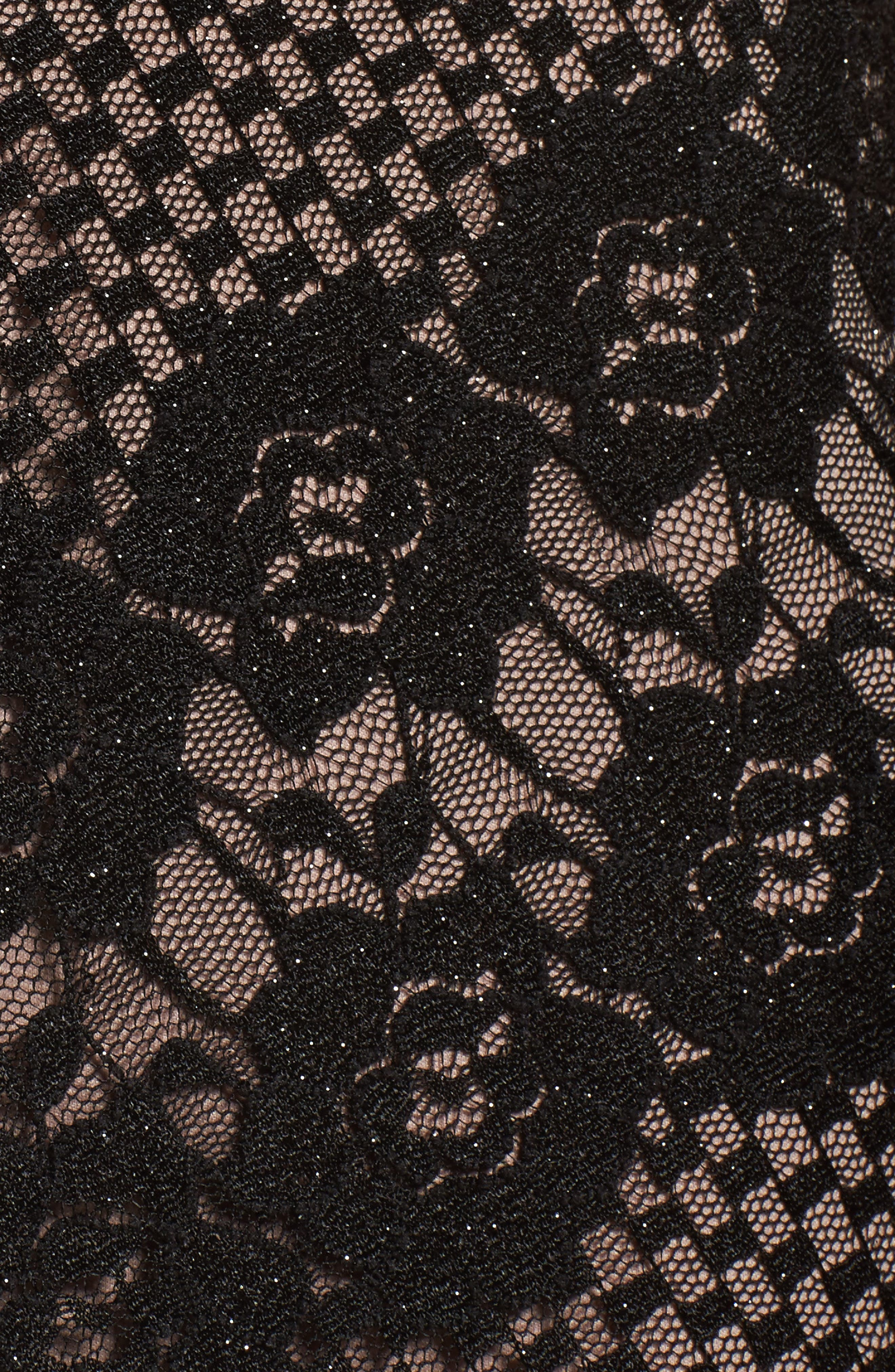 Crisscross Lace Gown,                             Alternate thumbnail 5, color,                             BLACK/ NUDE