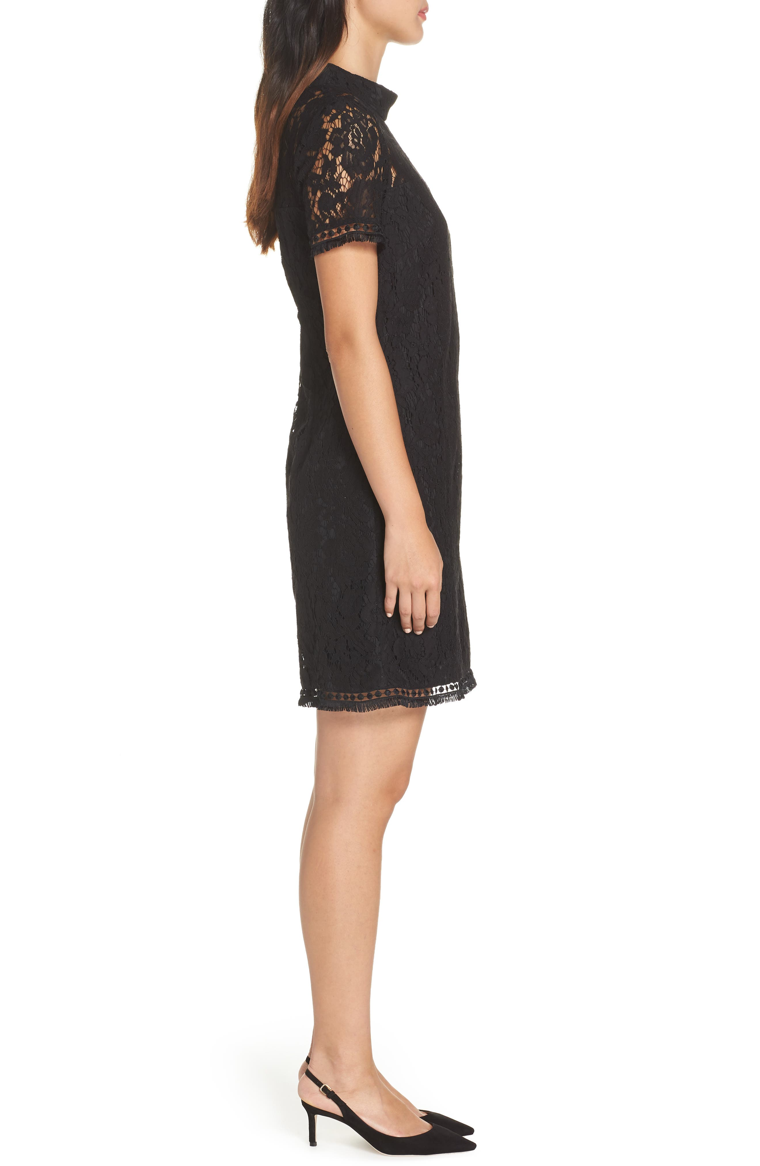 High Neck Lace Shift Dress,                             Alternate thumbnail 3, color,                             BLACK