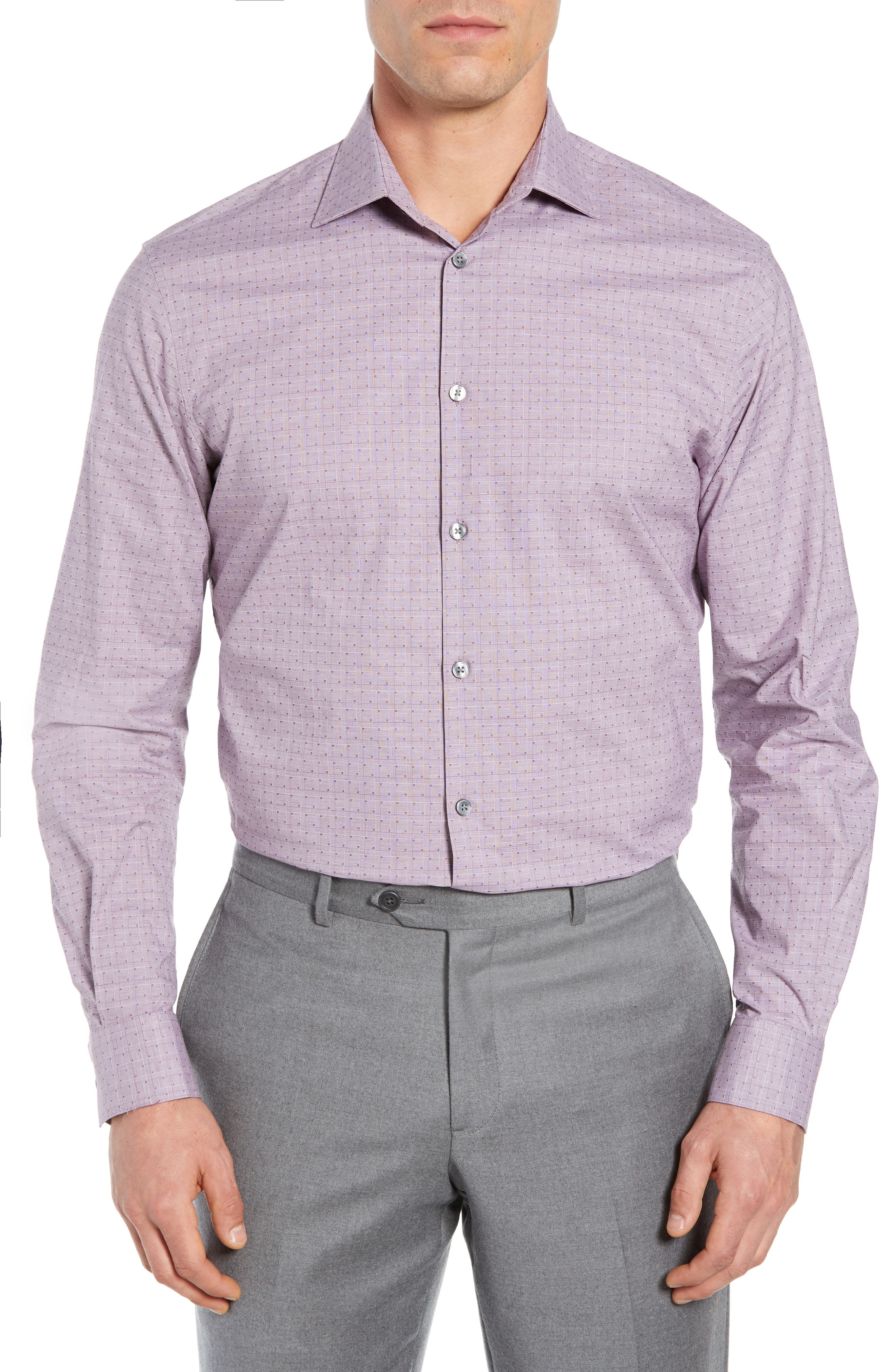 Regular Fit Stretch Check Dress Shirt,                             Main thumbnail 1, color,                             WINE