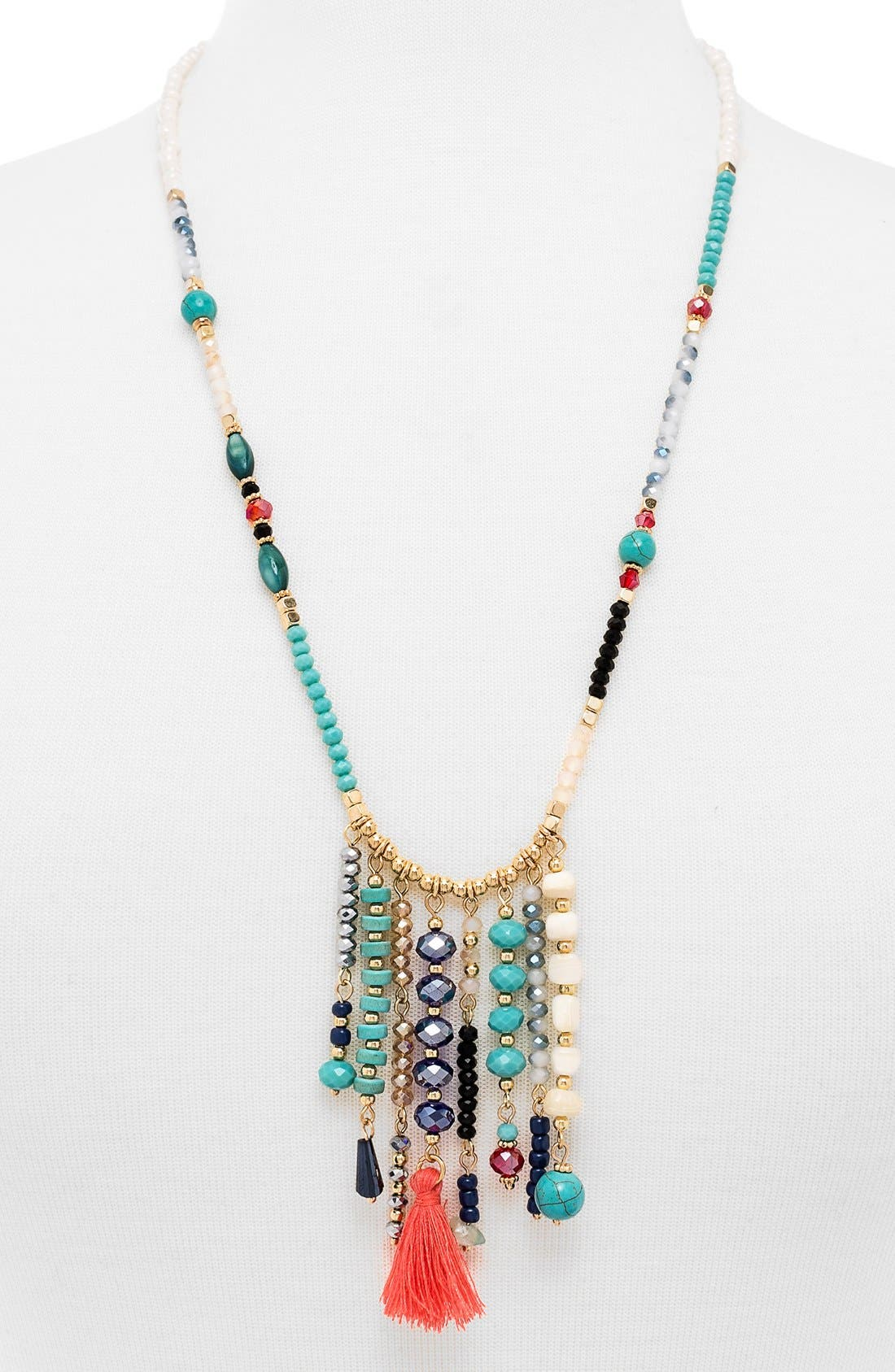 'Congo' Beaded Tassel Necklace,                             Main thumbnail 1, color,
