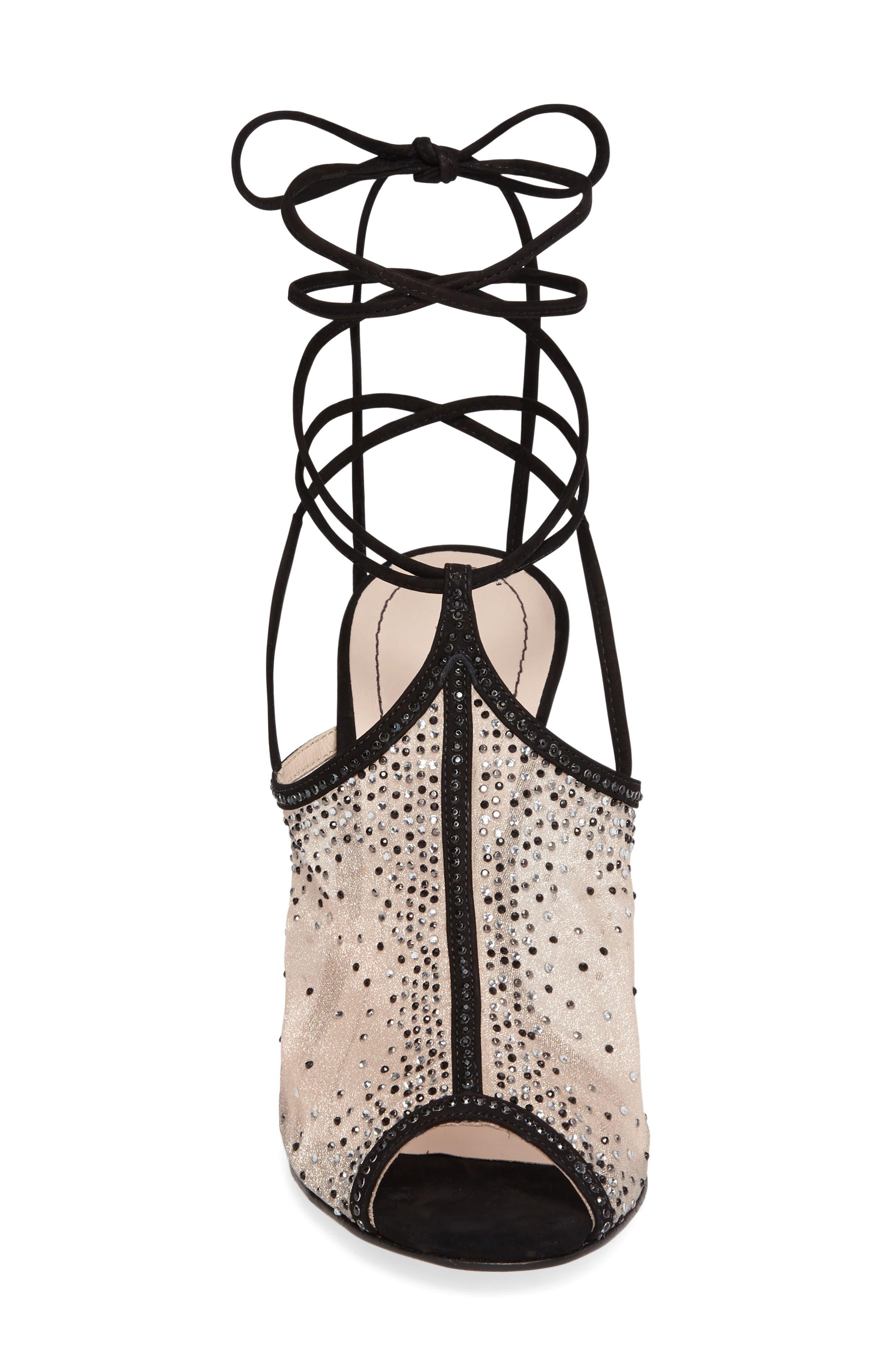 Margeaux Embellished Wraparound Sandal,                             Alternate thumbnail 3, color,                             002