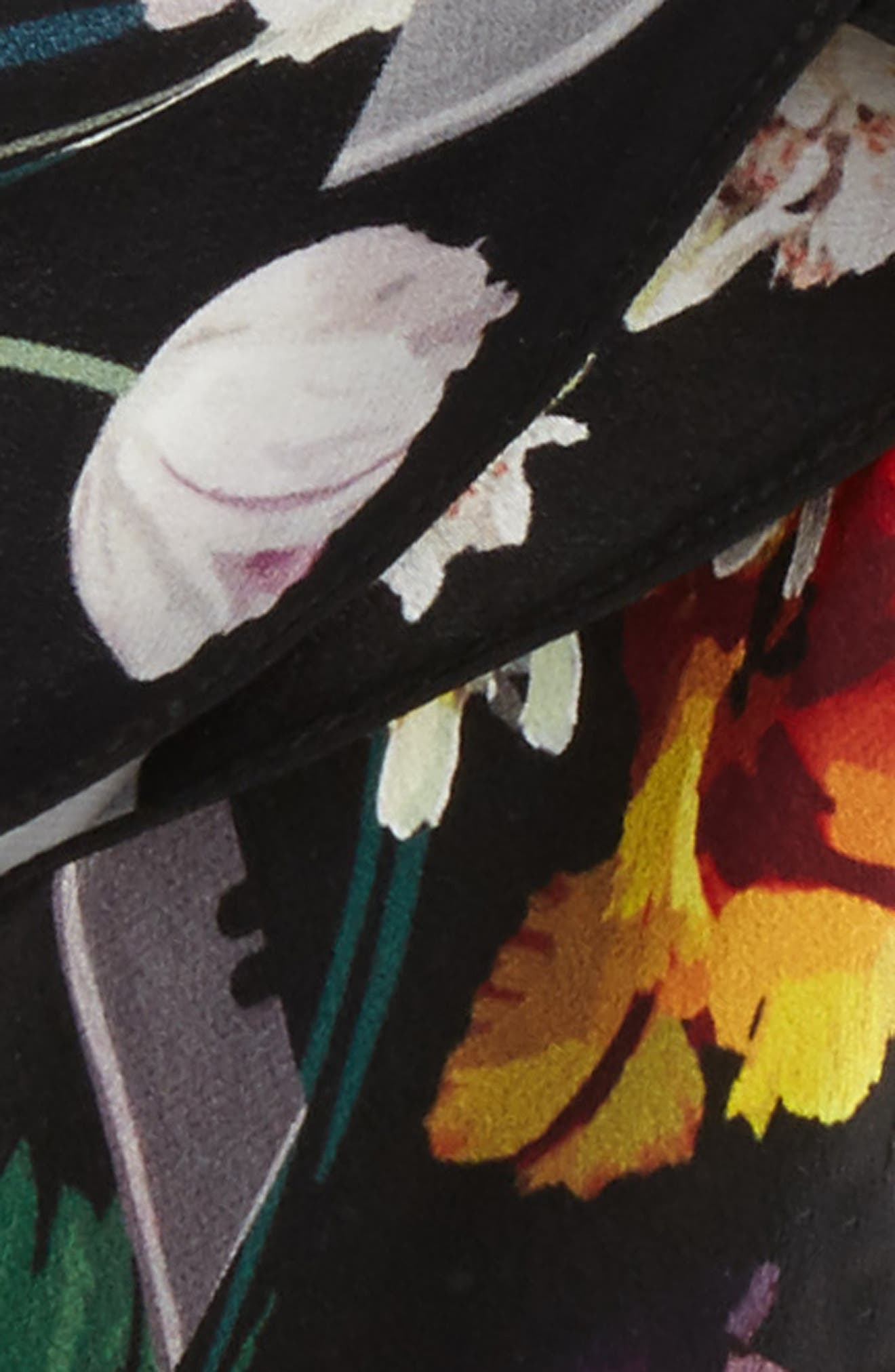 Flora Skinny Silk Scarf,                             Alternate thumbnail 3, color,                             001