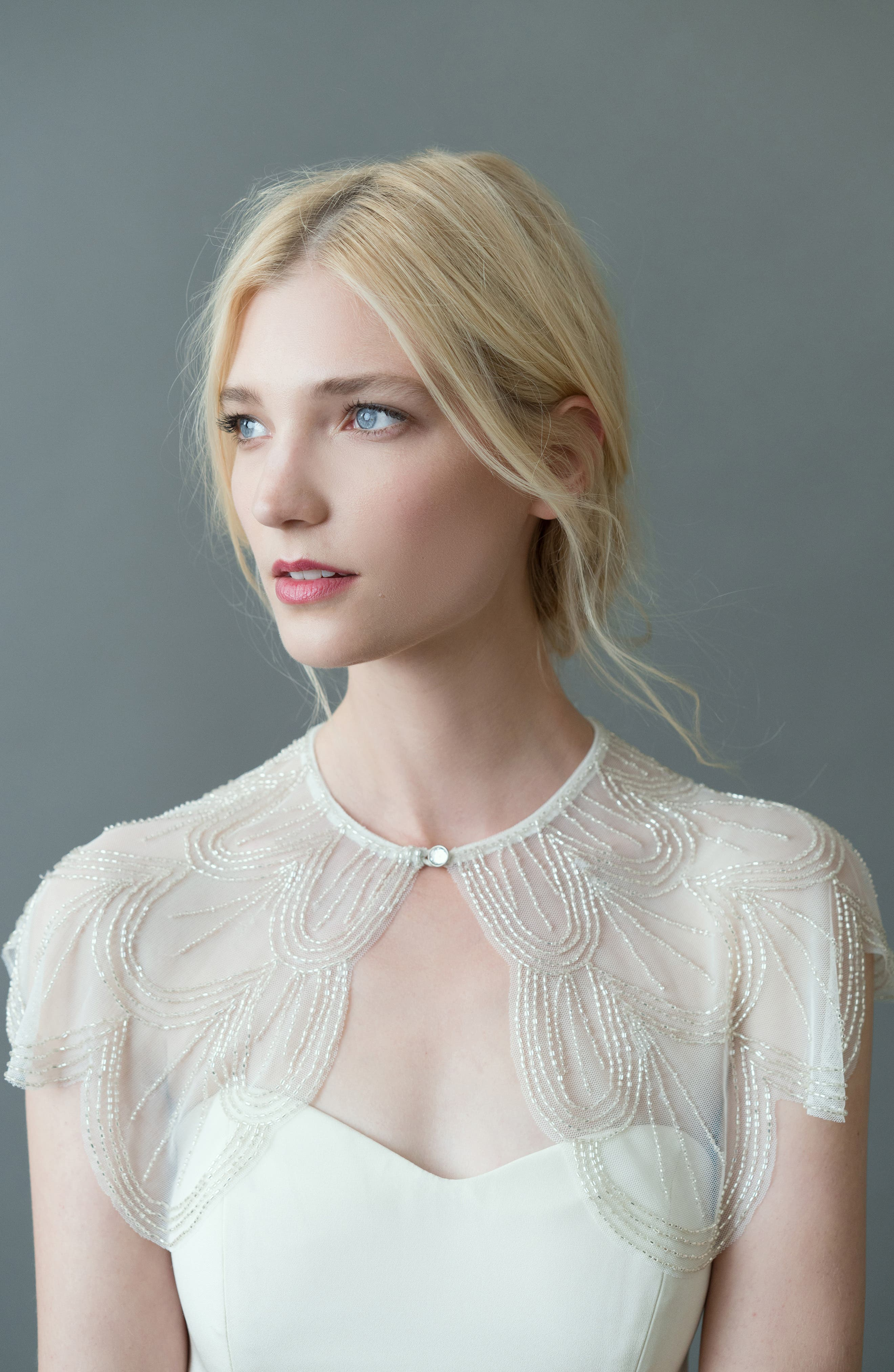 Tory Beaded Tulle Capelet,                             Alternate thumbnail 2, color,                             IVORY