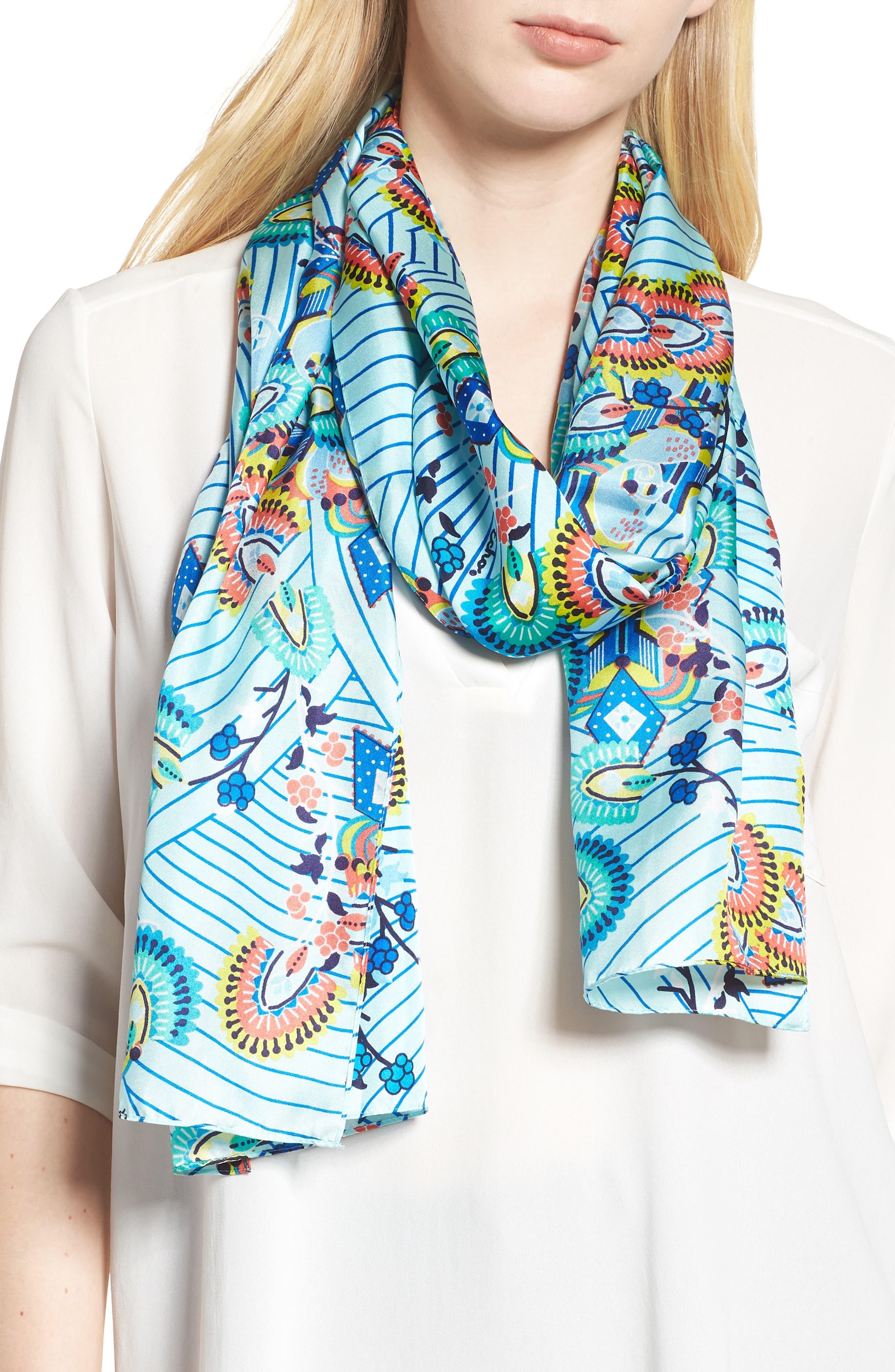 Kingston Silk Scarf,                         Main,                         color, BLUE GROTTO