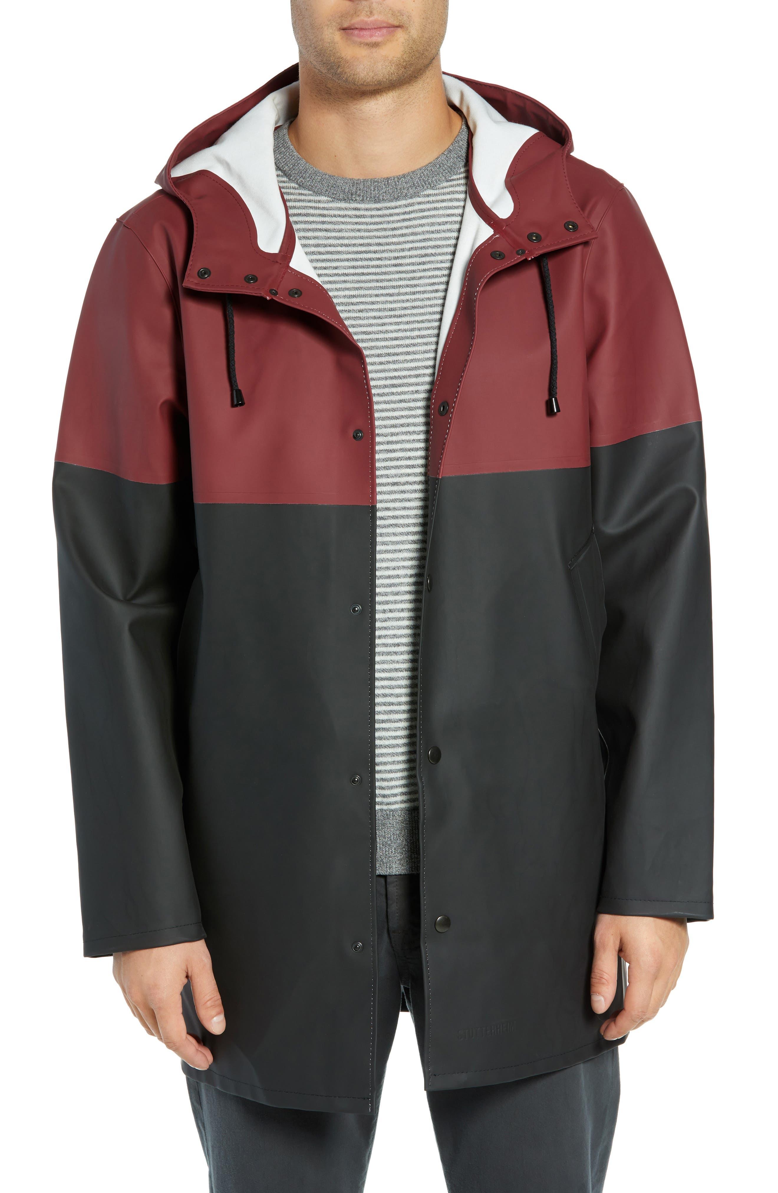 Stockholm Colorblock Waterproof Hooded Raincoat,                         Main,                         color, BURGUNDY/ BLACK