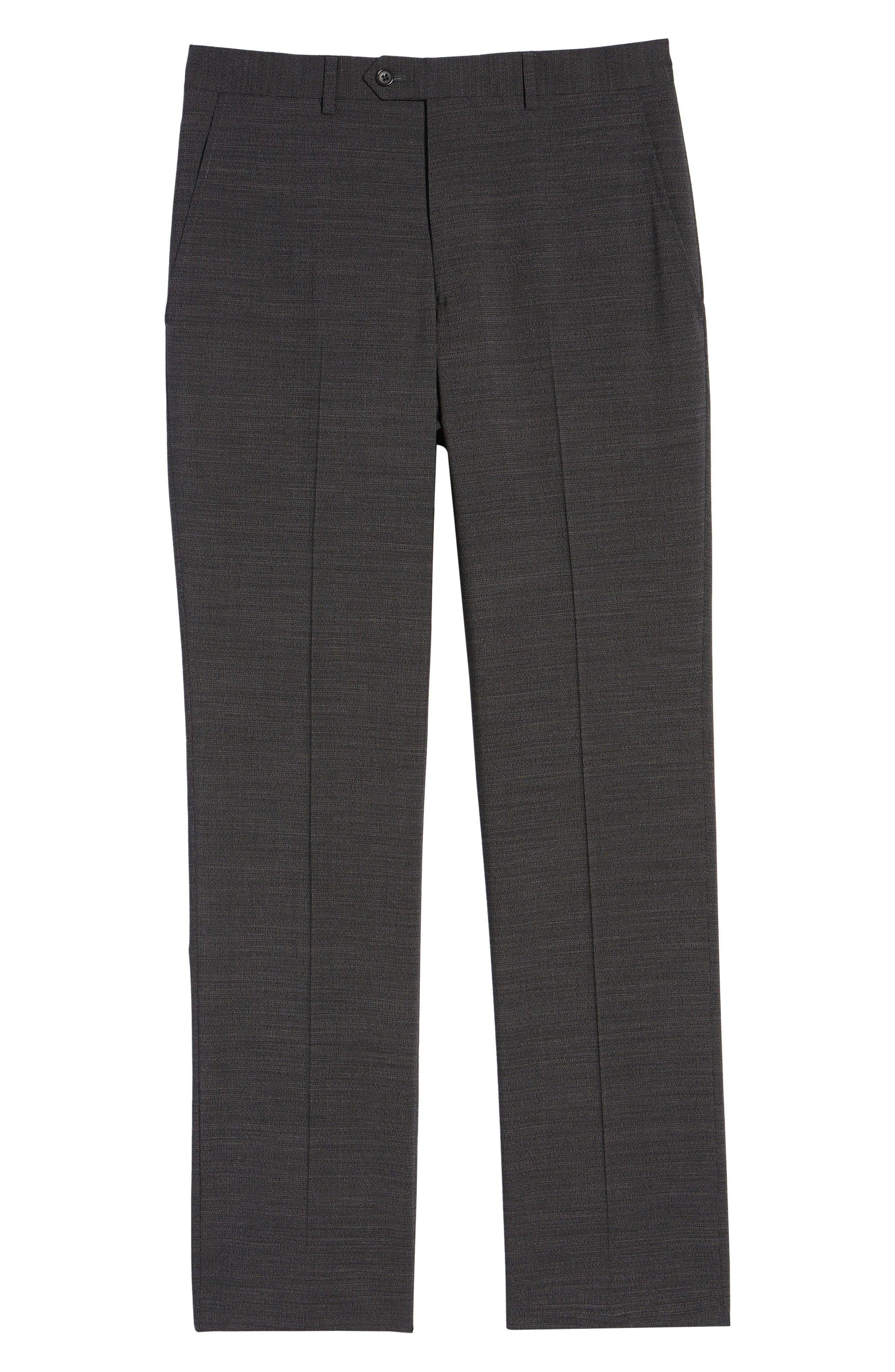 Flat Front Solid Wool Trousers,                             Alternate thumbnail 6, color,                             020