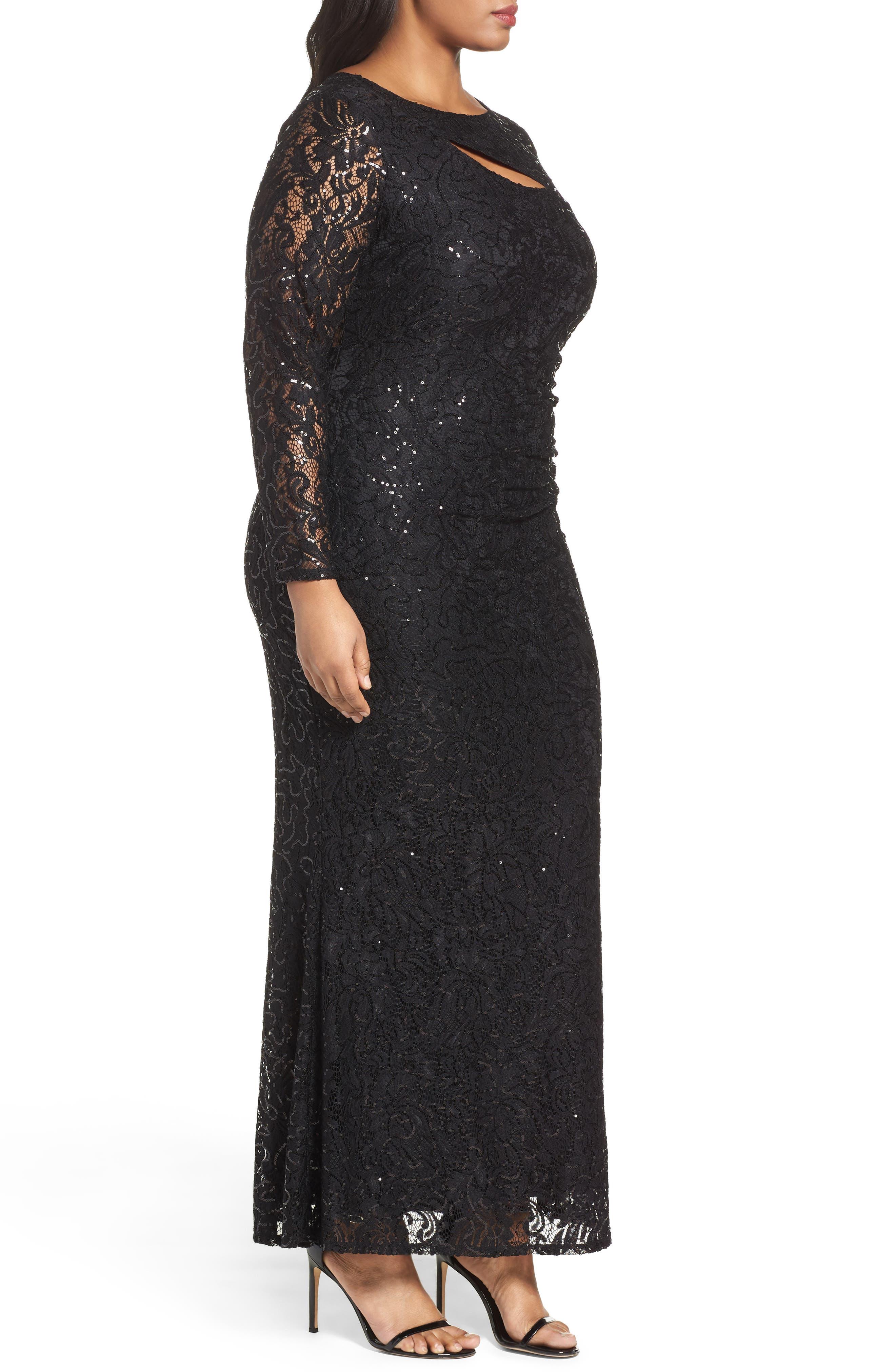 Sequin Lace Keyhole Gown,                             Alternate thumbnail 3, color,                             001