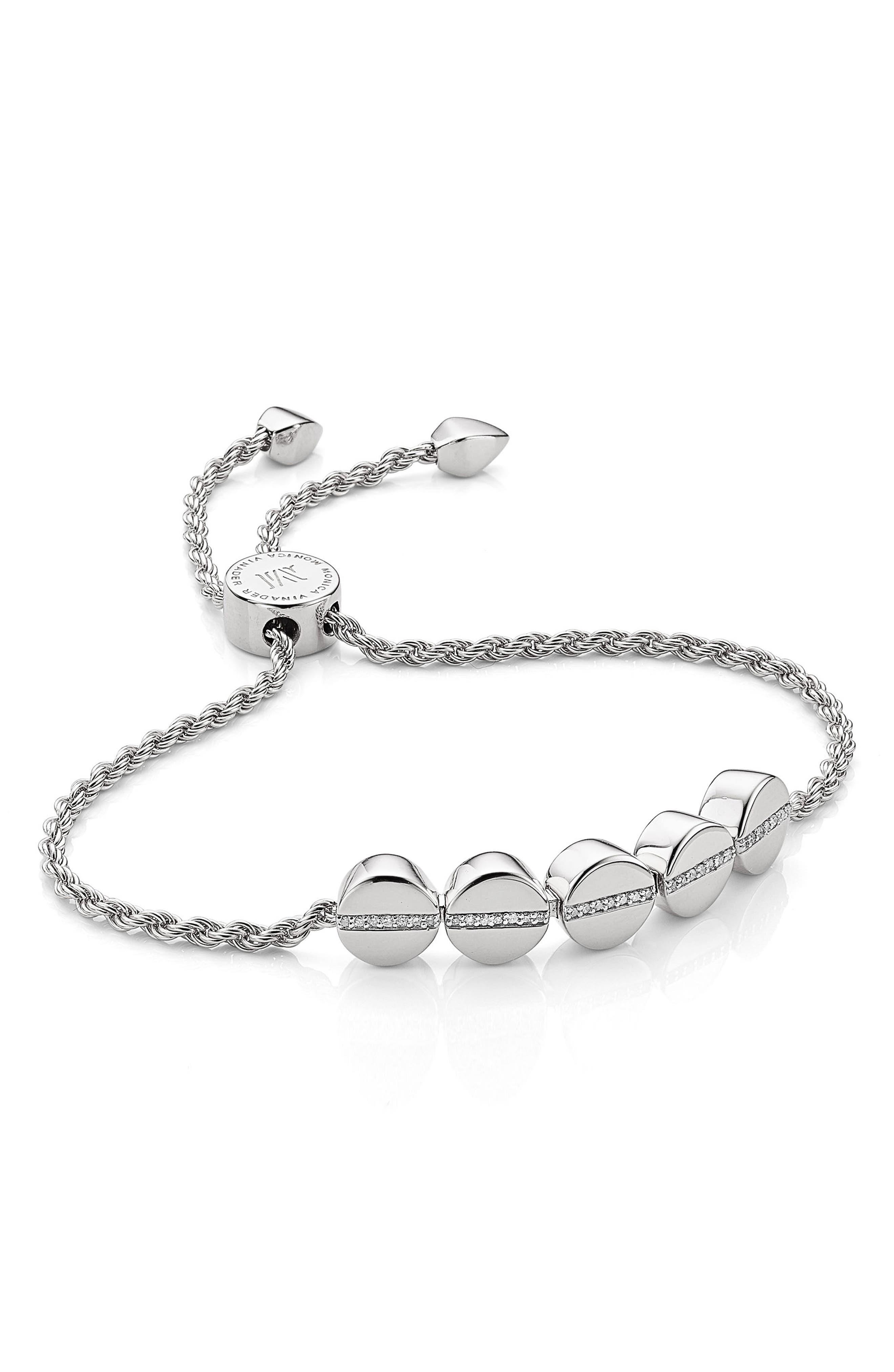 Engravable Diamond Beaded Friendship Bracelet, Main, color, SILVER/ DIAMOND