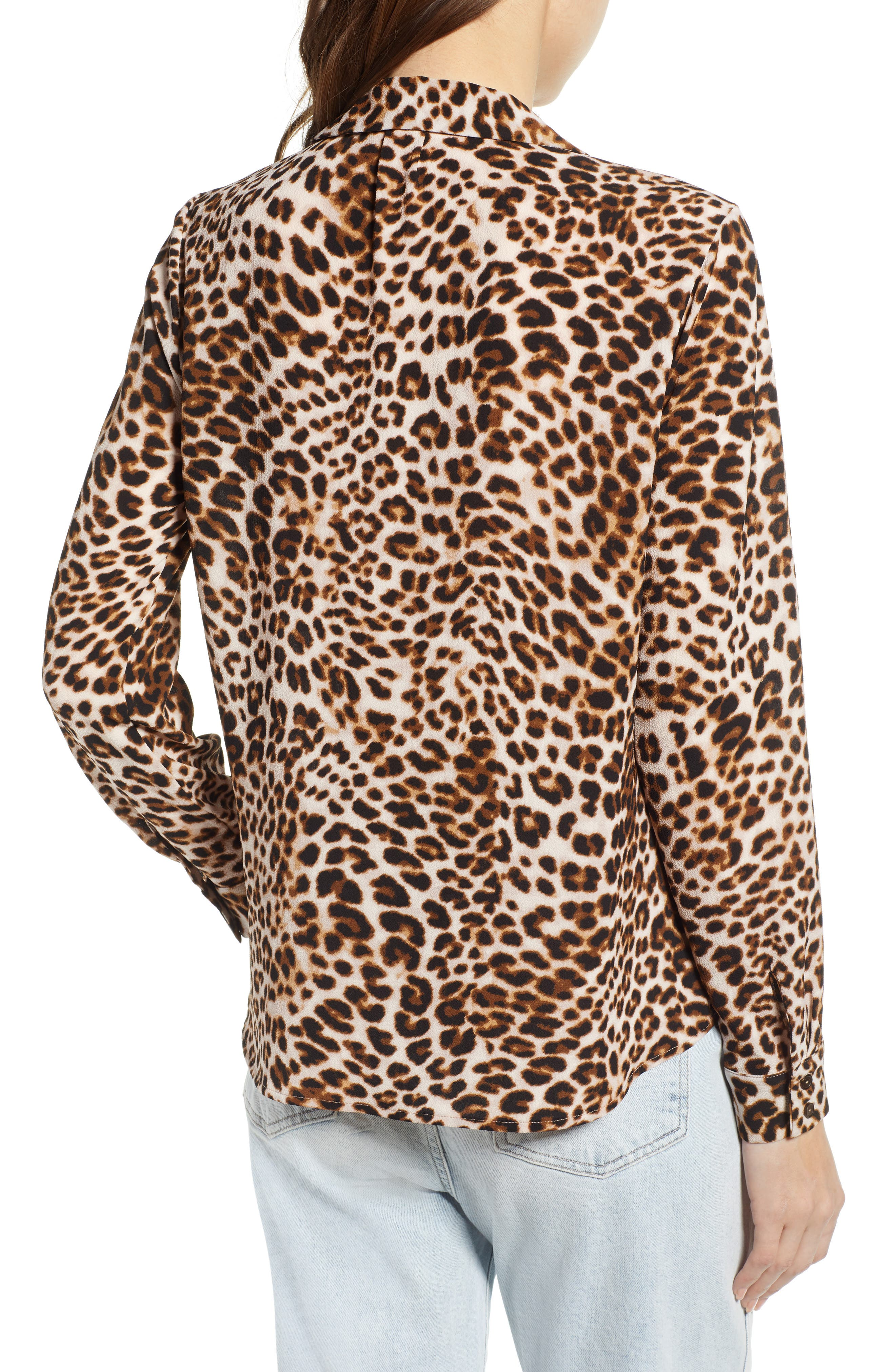 ALL IN FAVOR,                             Patterned Drape Front Blouse,                             Alternate thumbnail 2, color,                             LEOPARD PRINT