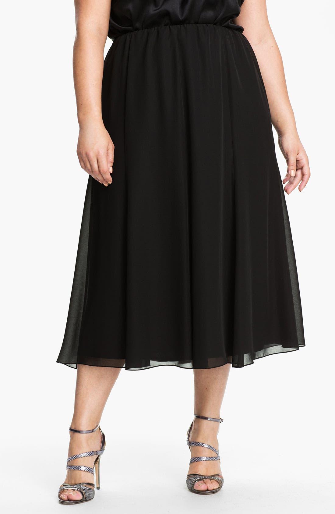 Chiffon Skirt,                         Main,                         color, BLACK