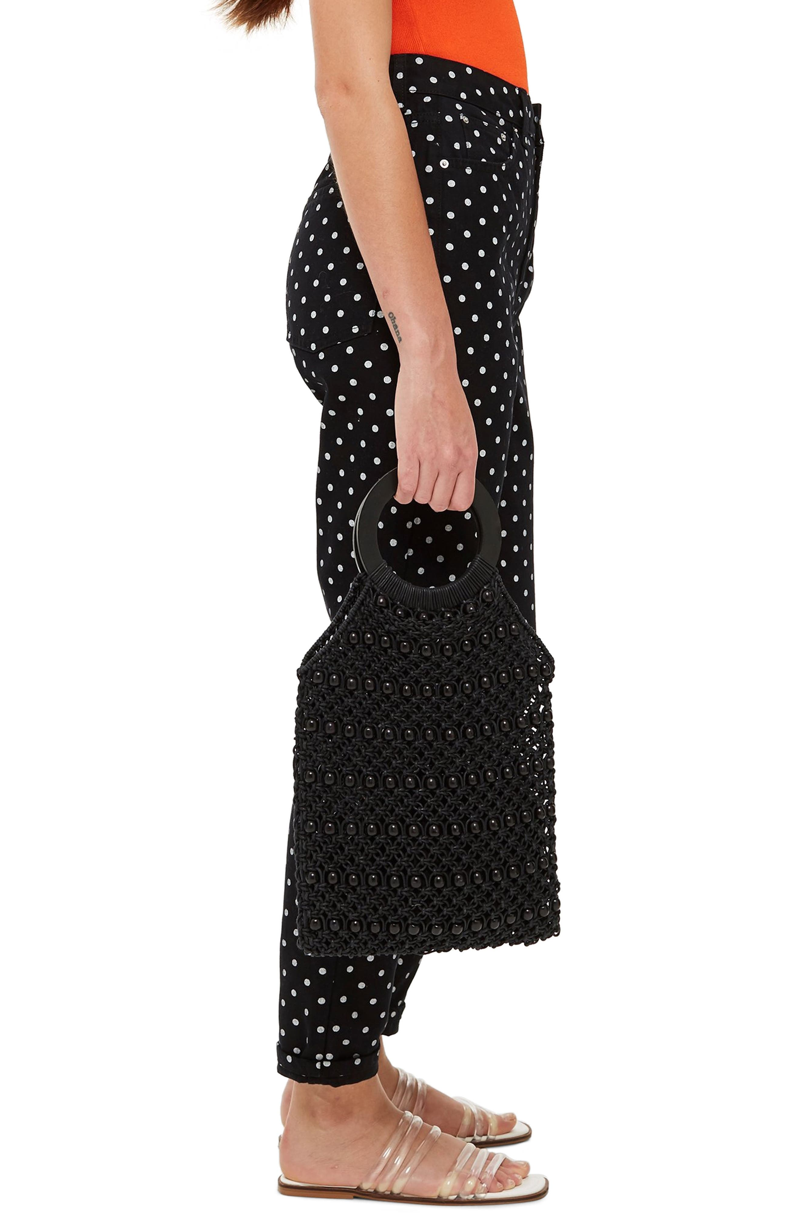 MOTO Polka Dot Mom Jeans,                             Alternate thumbnail 3, color,                             BLACK MULTI
