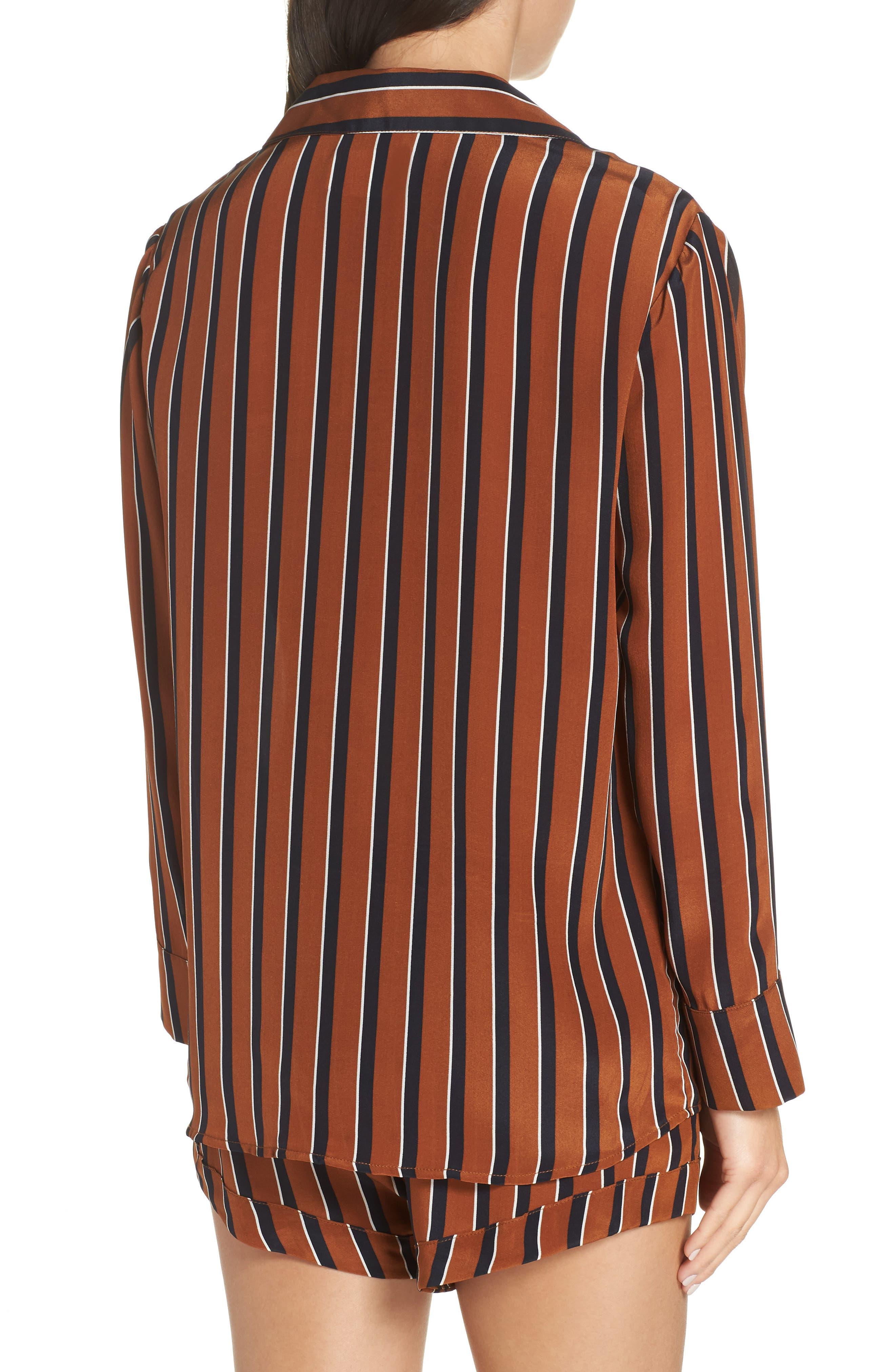 Fleur Striped Silk Pajama Top,                             Alternate thumbnail 2, color,                             TOBACCO STRIPE