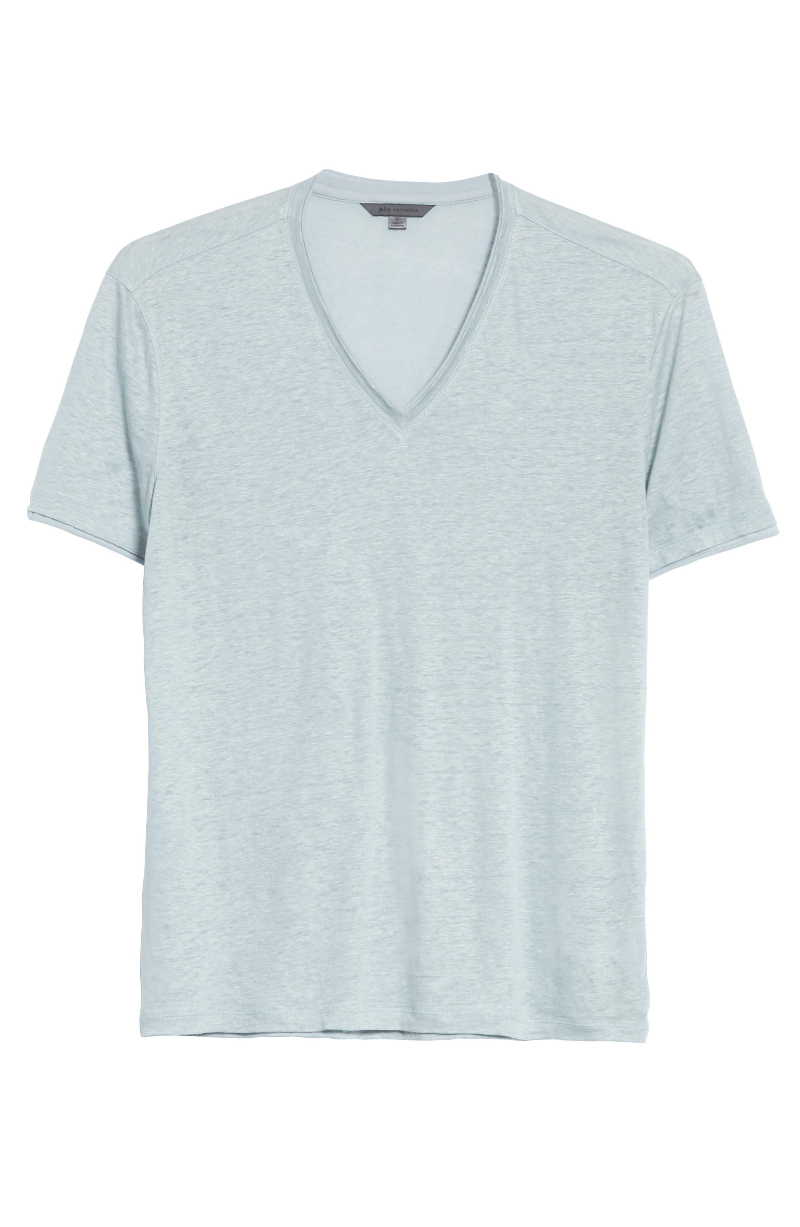 Linen V-Neck T-Shirt,                             Alternate thumbnail 6, color,                             431