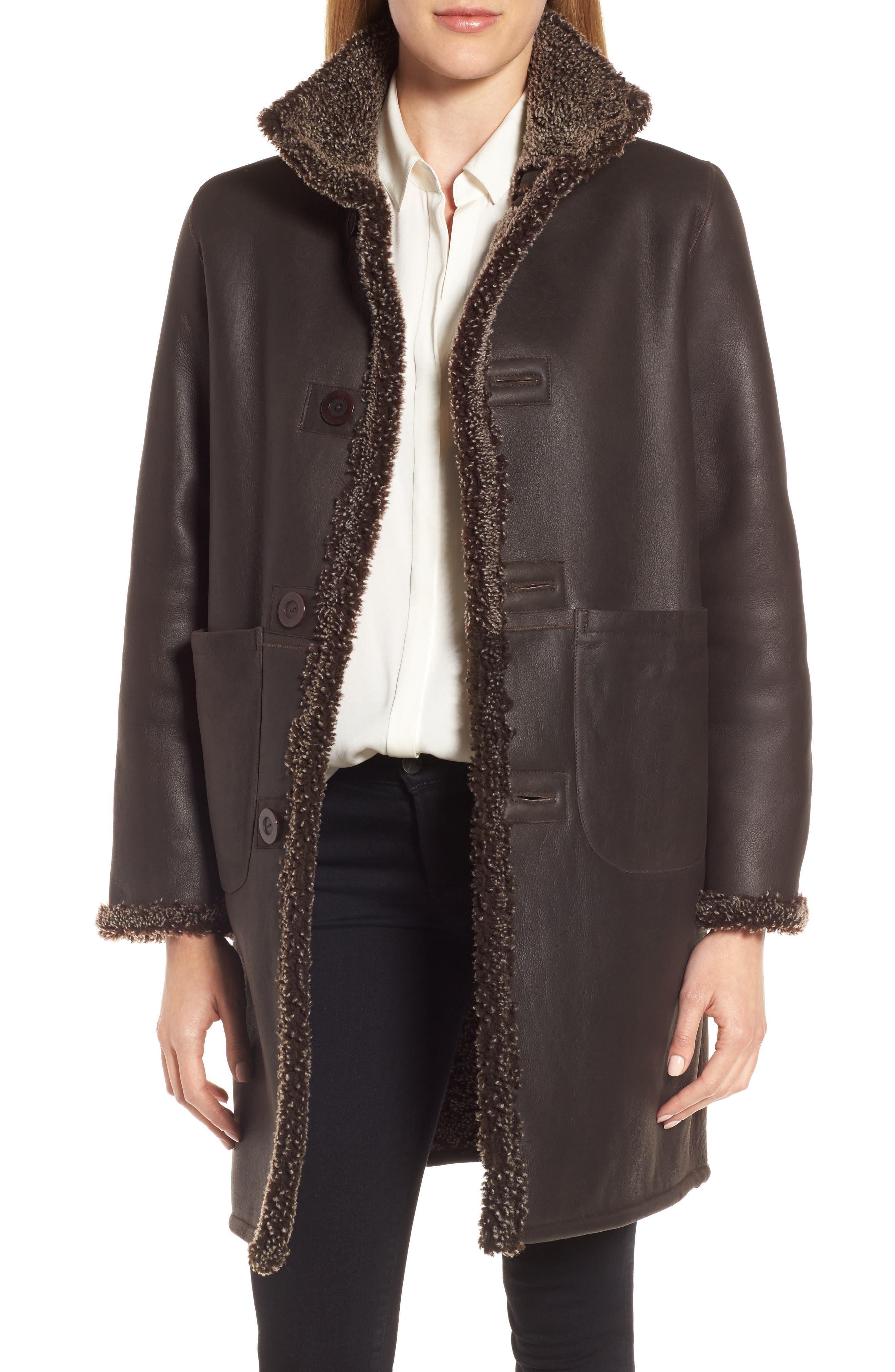 Reversible Genuine Shearling Coat,                         Main,                         color, 203