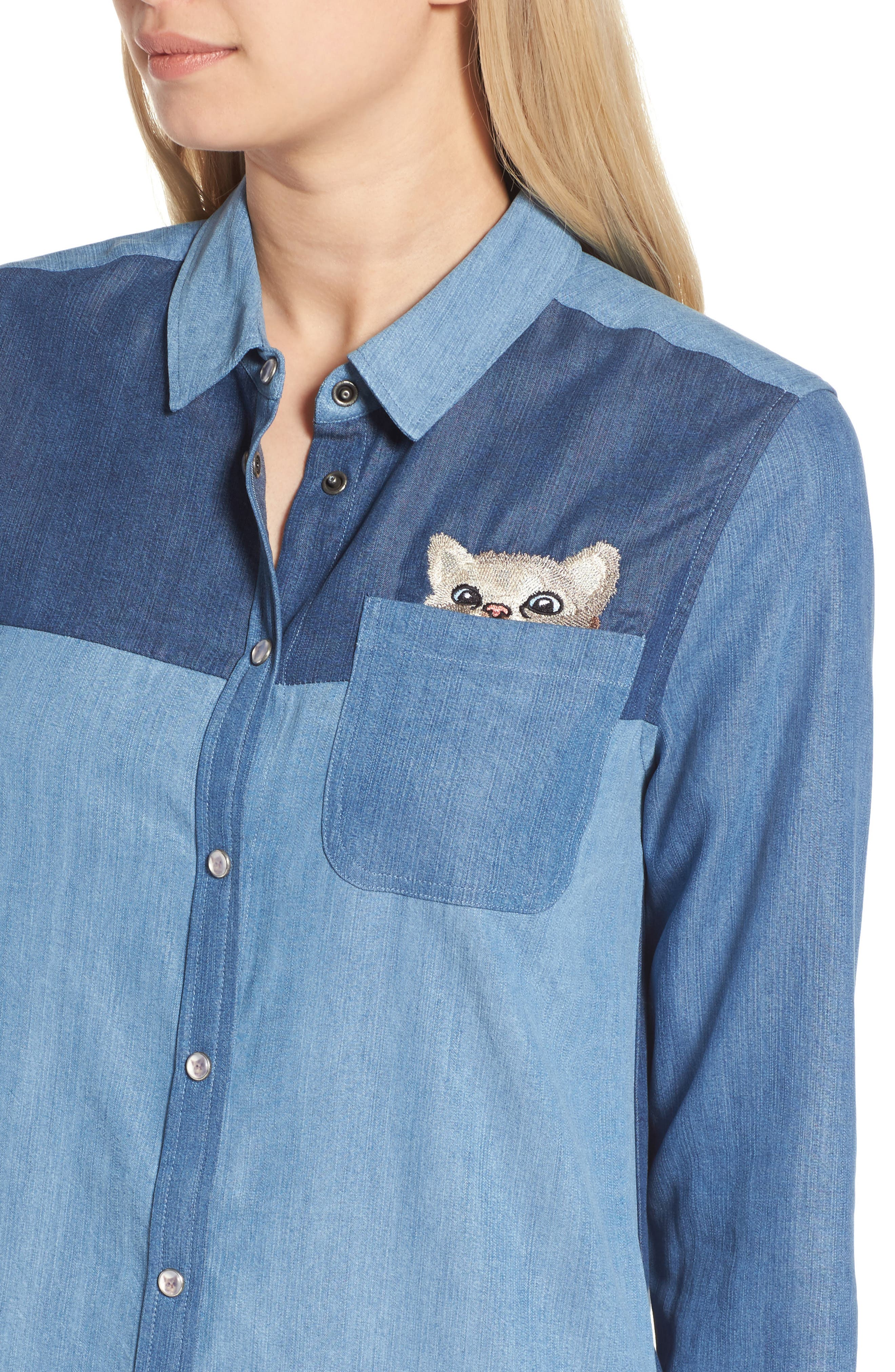 Kitty Chambray Shirtdress,                             Alternate thumbnail 4, color,                             482