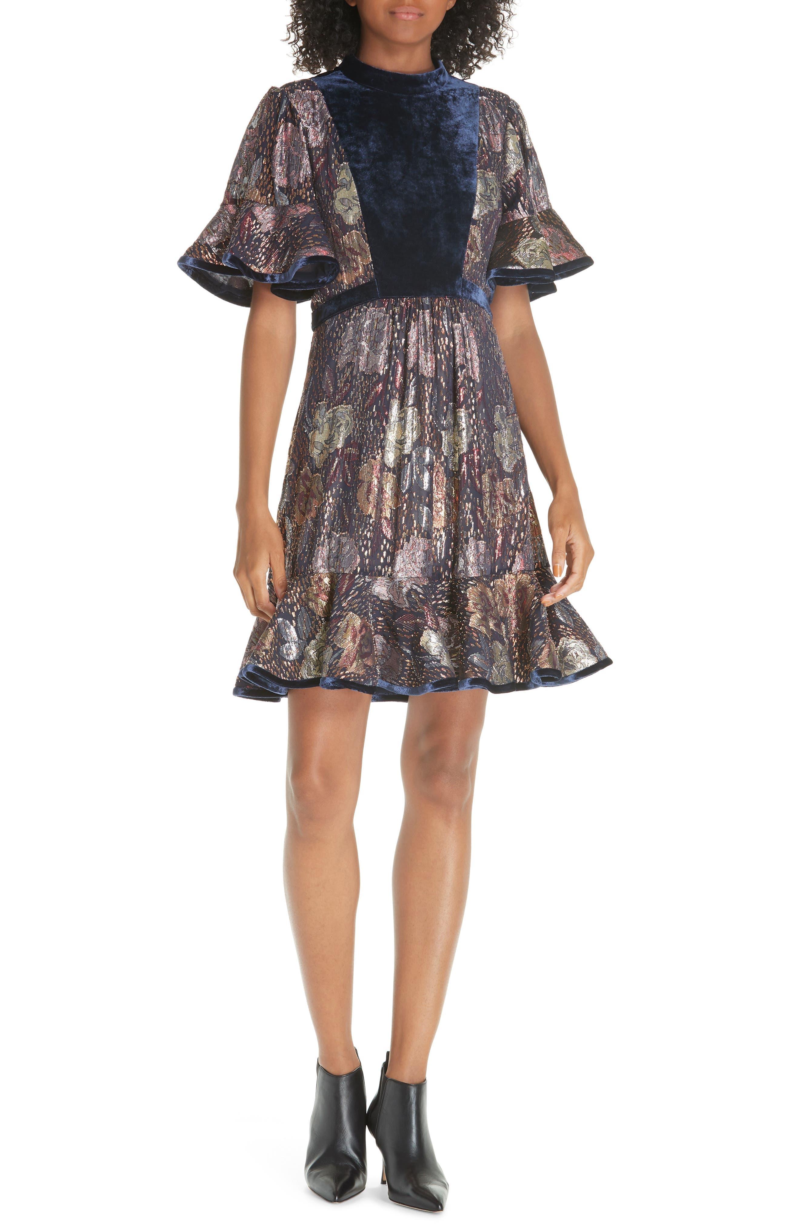 REBECCA TAYLOR,                             Velvet and Metallic Tapestry Dress,                             Main thumbnail 1, color,                             500