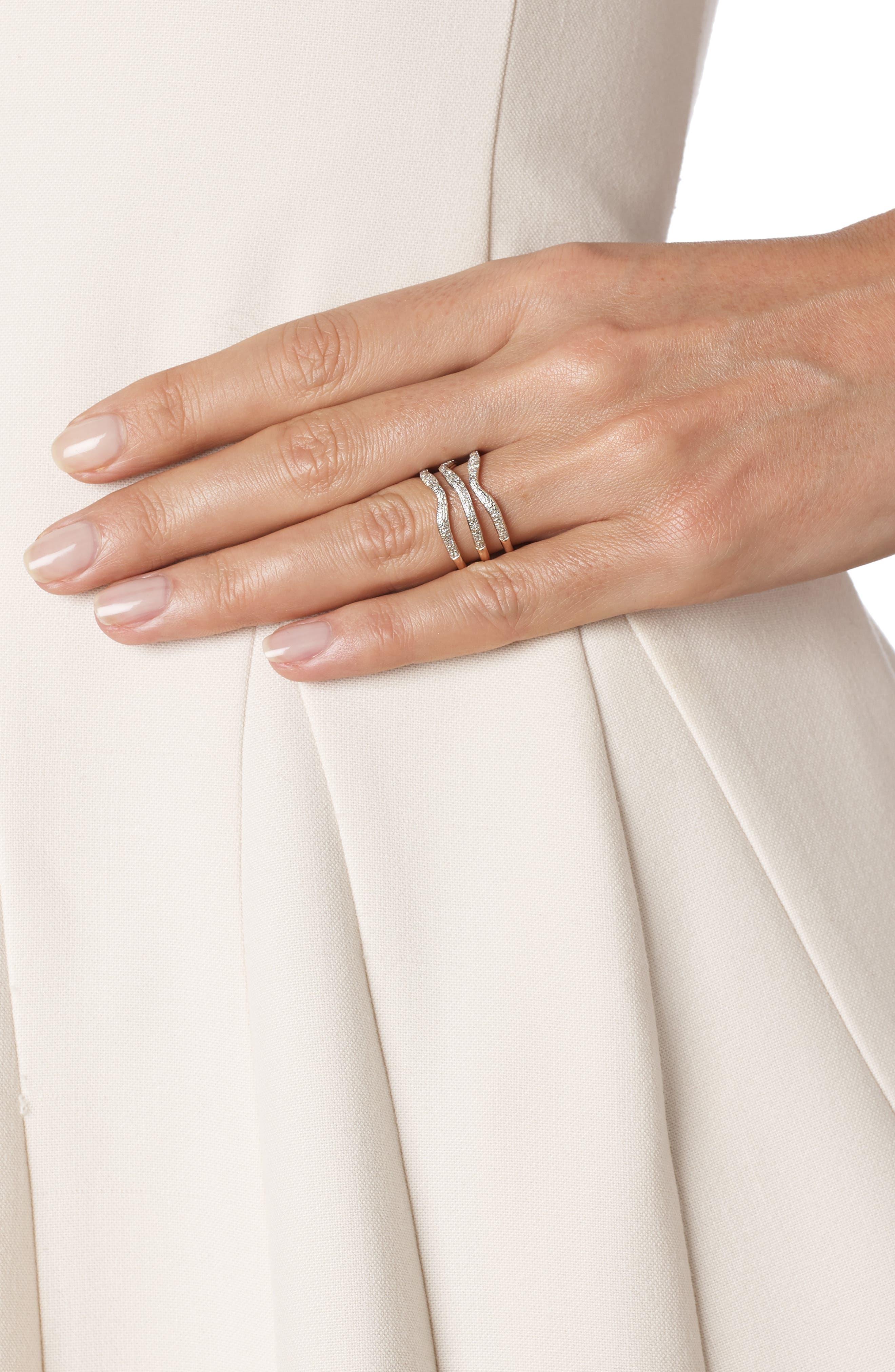 'Riva' Three Band Diamond Ring,                             Alternate thumbnail 3, color,                             ROSE GOLD