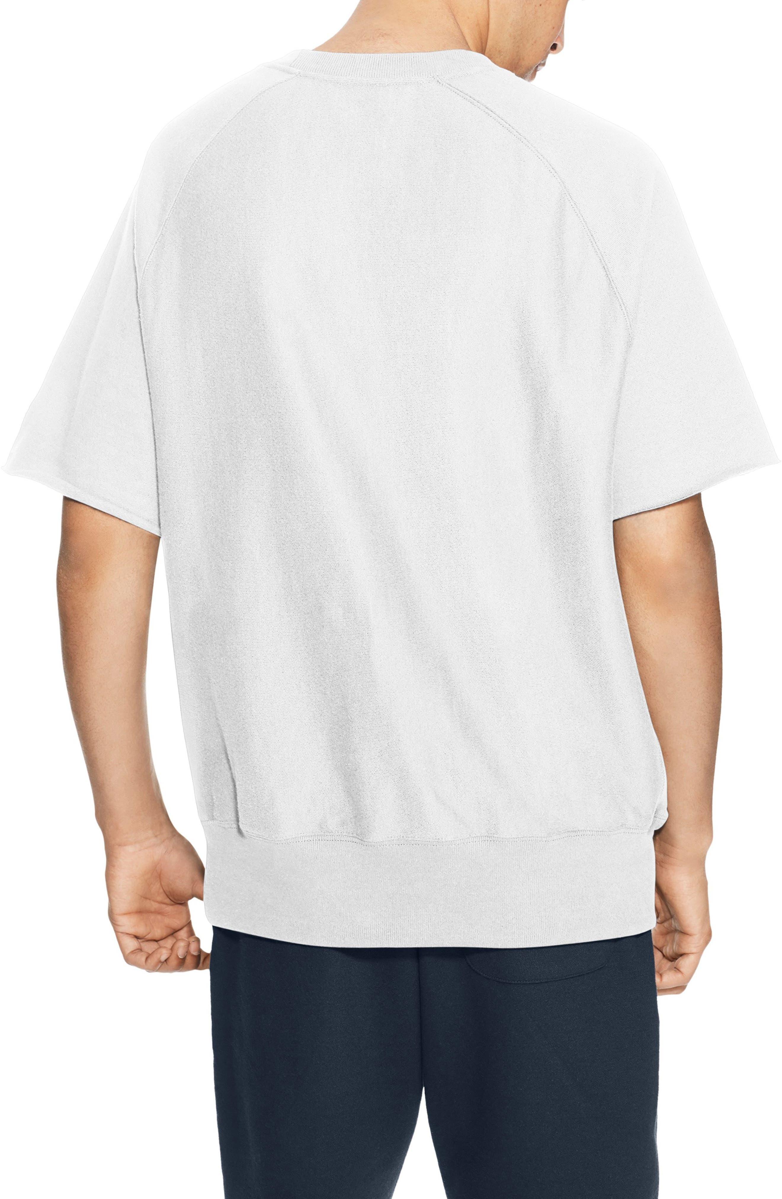Reverse Weave Short Sleeve Sweatshirt,                             Alternate thumbnail 2, color,                             WHITE