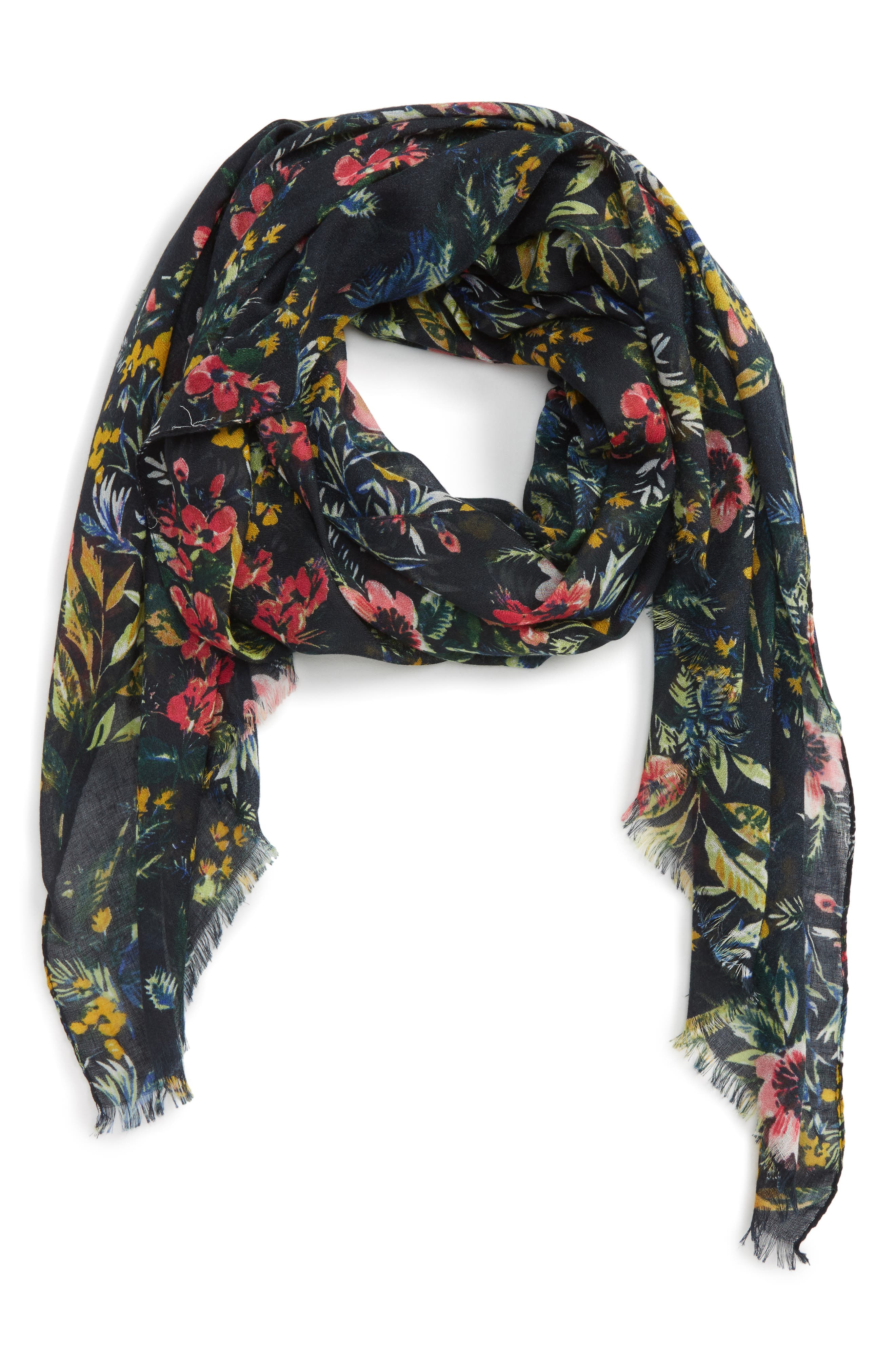 Wild Floral Scarf,                             Main thumbnail 1, color,                             001