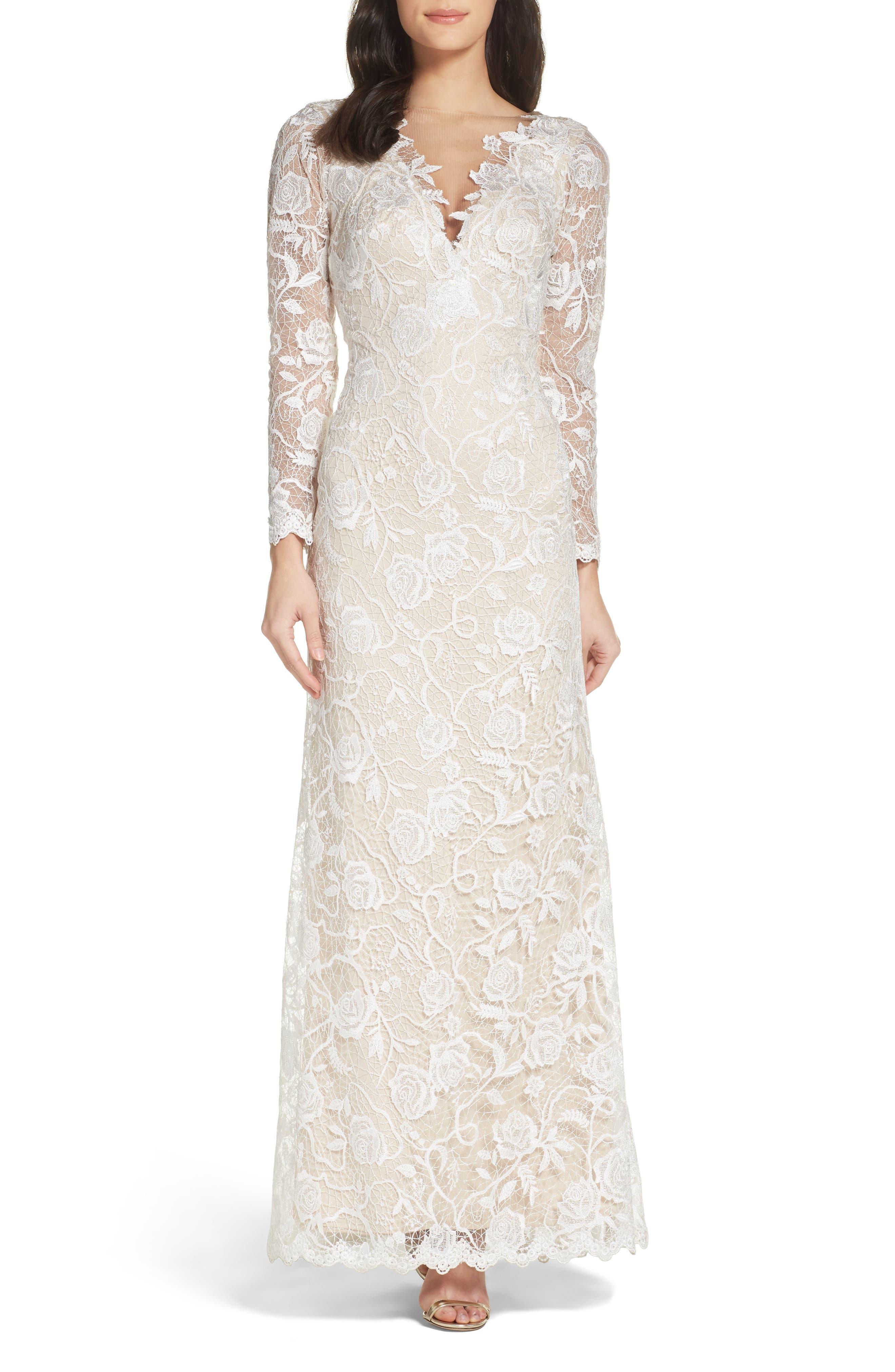Long Sleeve A-Line Sheath Gown,                             Alternate thumbnail 5, color,                             IVORY/ PETAL