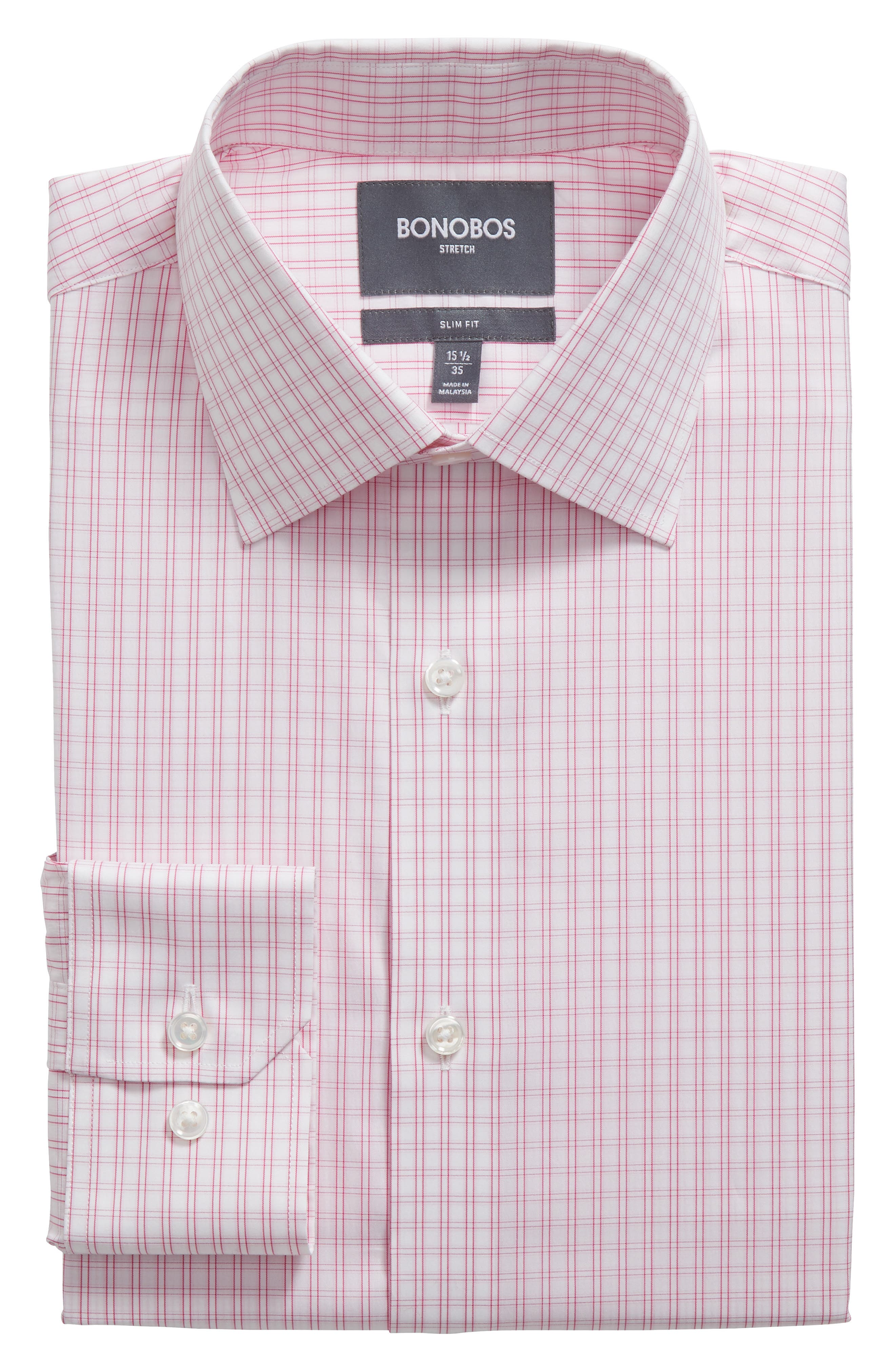 Raven Slim Fit Stretch Check Dress Shirt,                         Main,                         color, SHOCKING POPPY