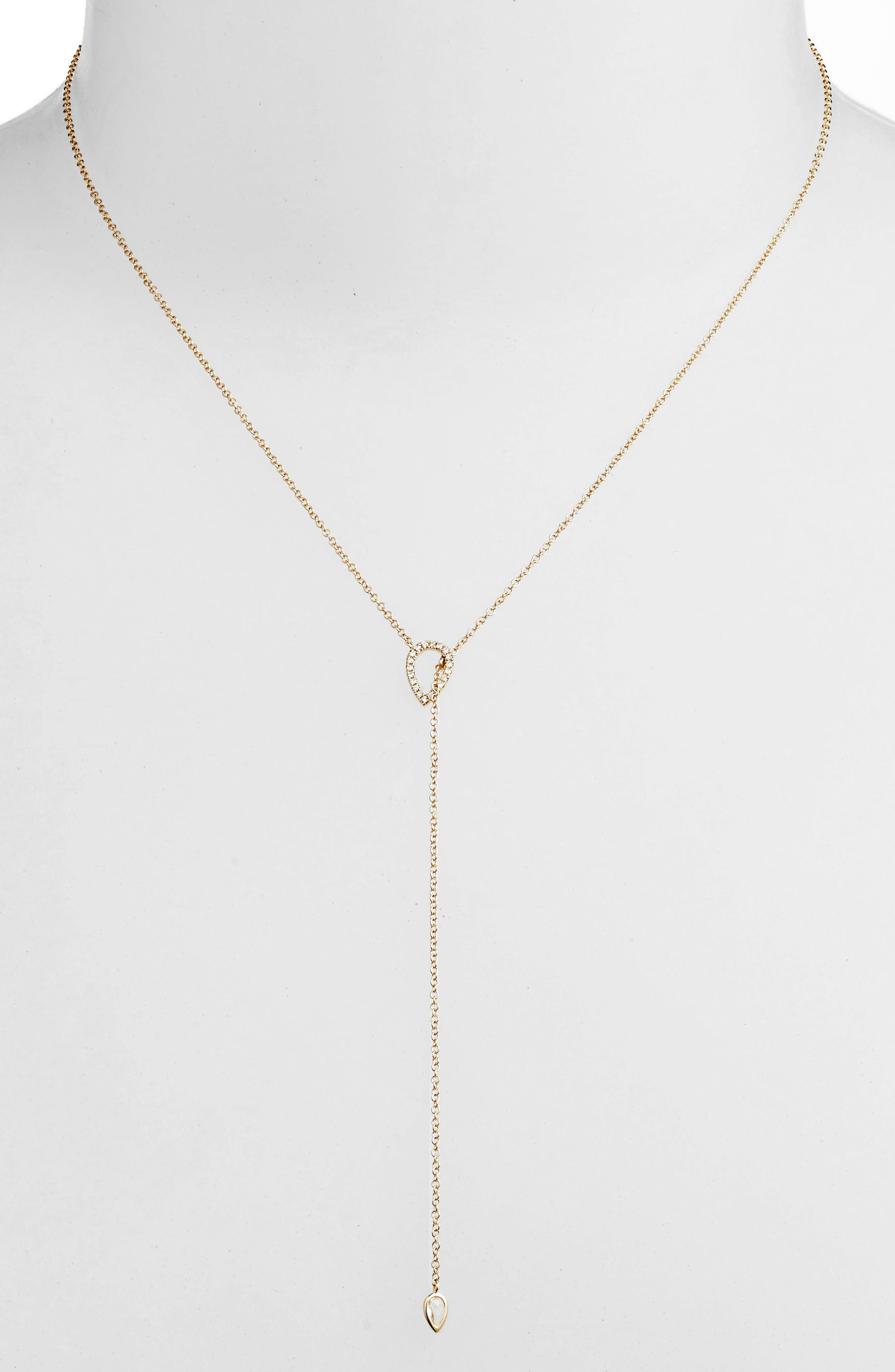Teardrop Diamond Lariat Necklace,                             Alternate thumbnail 2, color,                             YELLOW GOLD