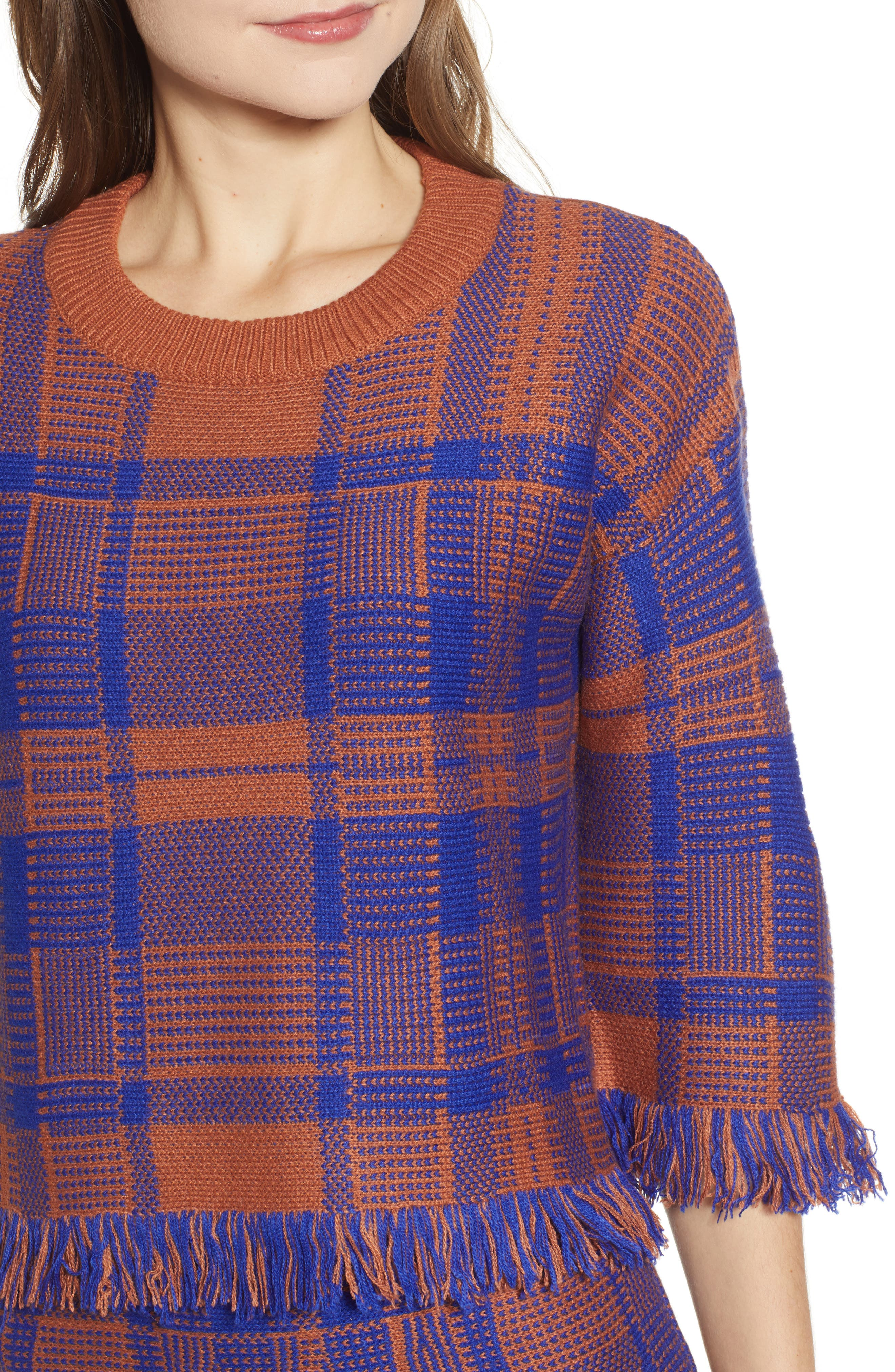 Plaid Fringe Hem Sweater,                             Alternate thumbnail 4, color,                             BROWN