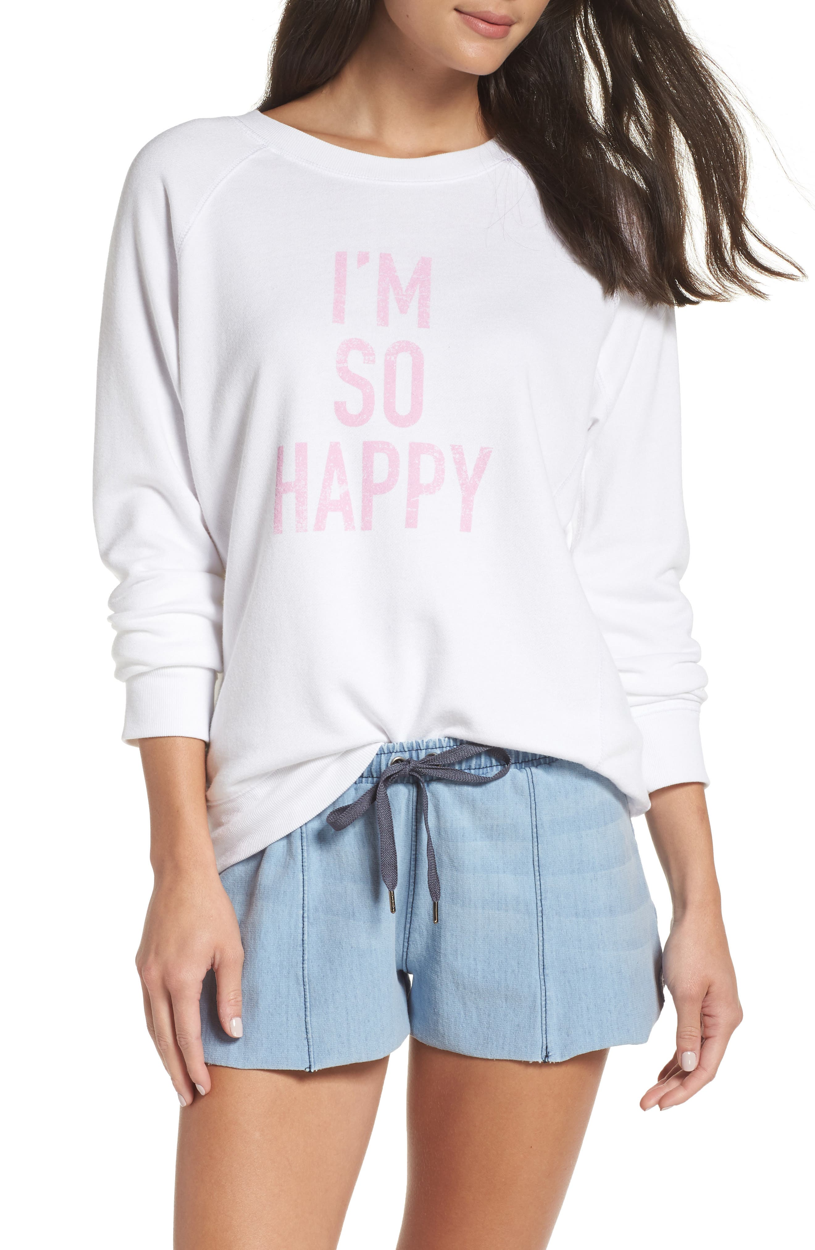DAVID LERNER I'm So Happy Raglan Pullover, Main, color, WHITE