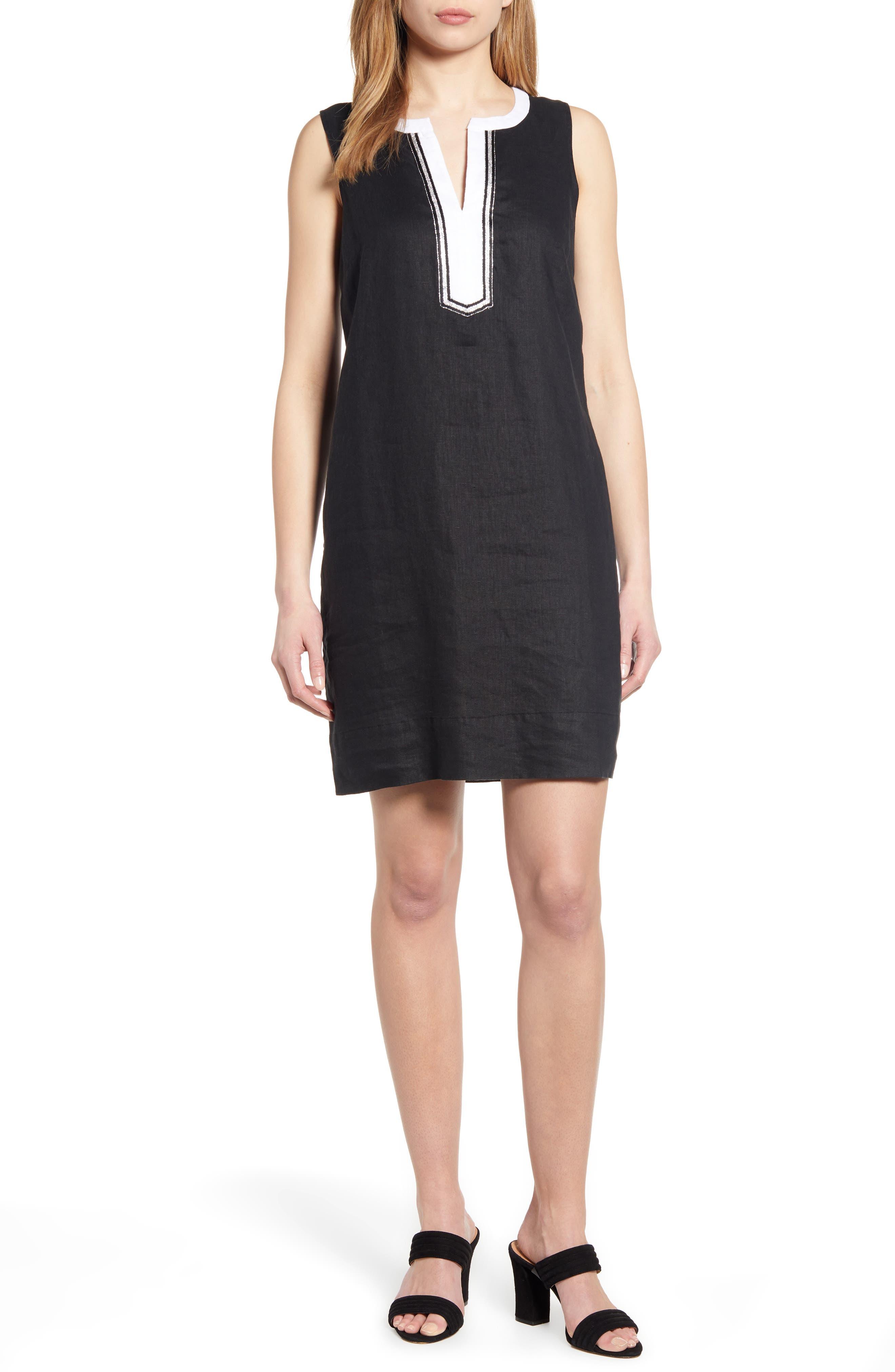 Tommy Bahama Two Palms Split Neck Linen Shift Dress, Black