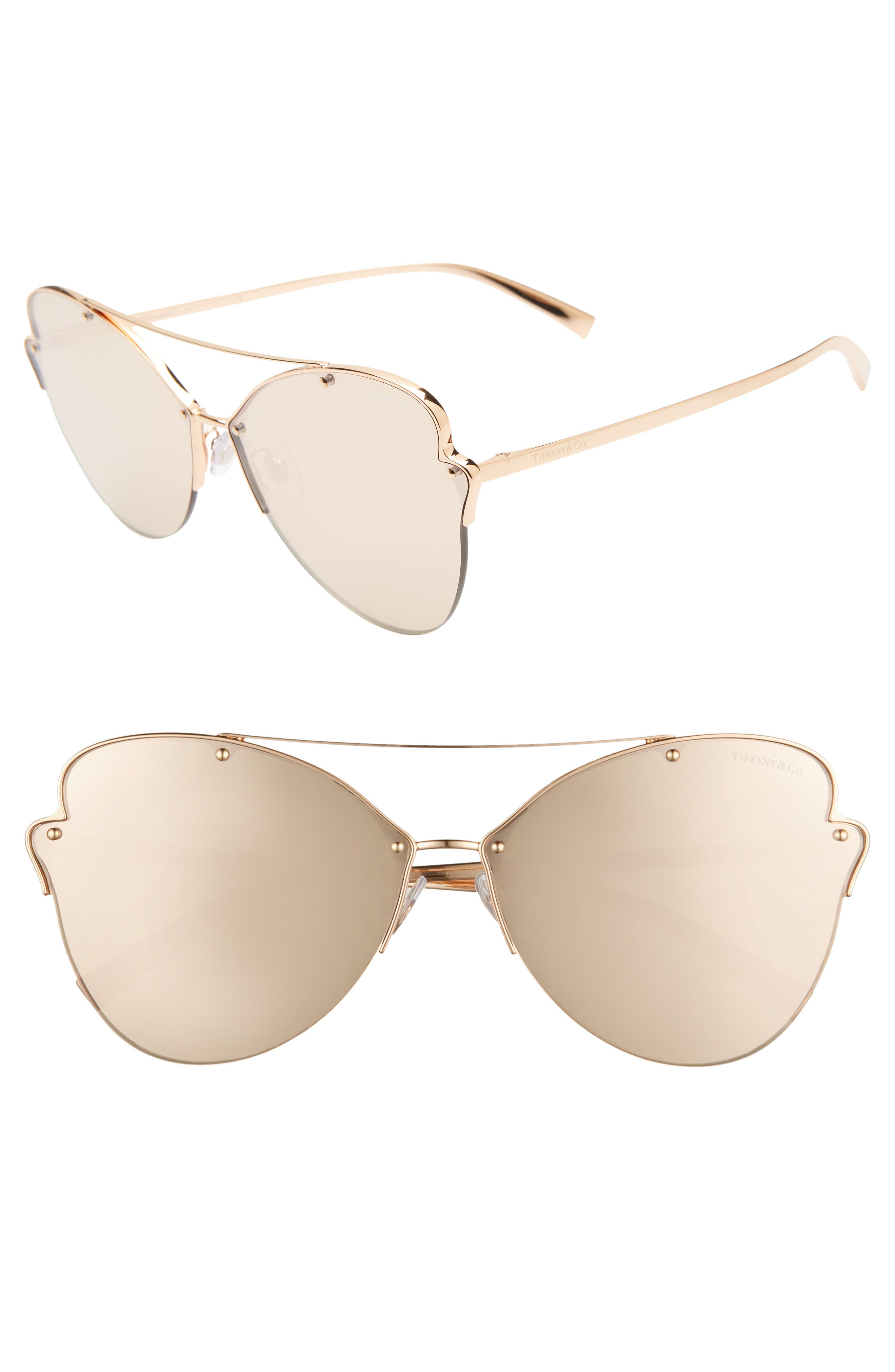 TIFFANY & CO Paper Flowers 64Mm Oversize Mirrored Sunglasses - Rose Gold Mirror