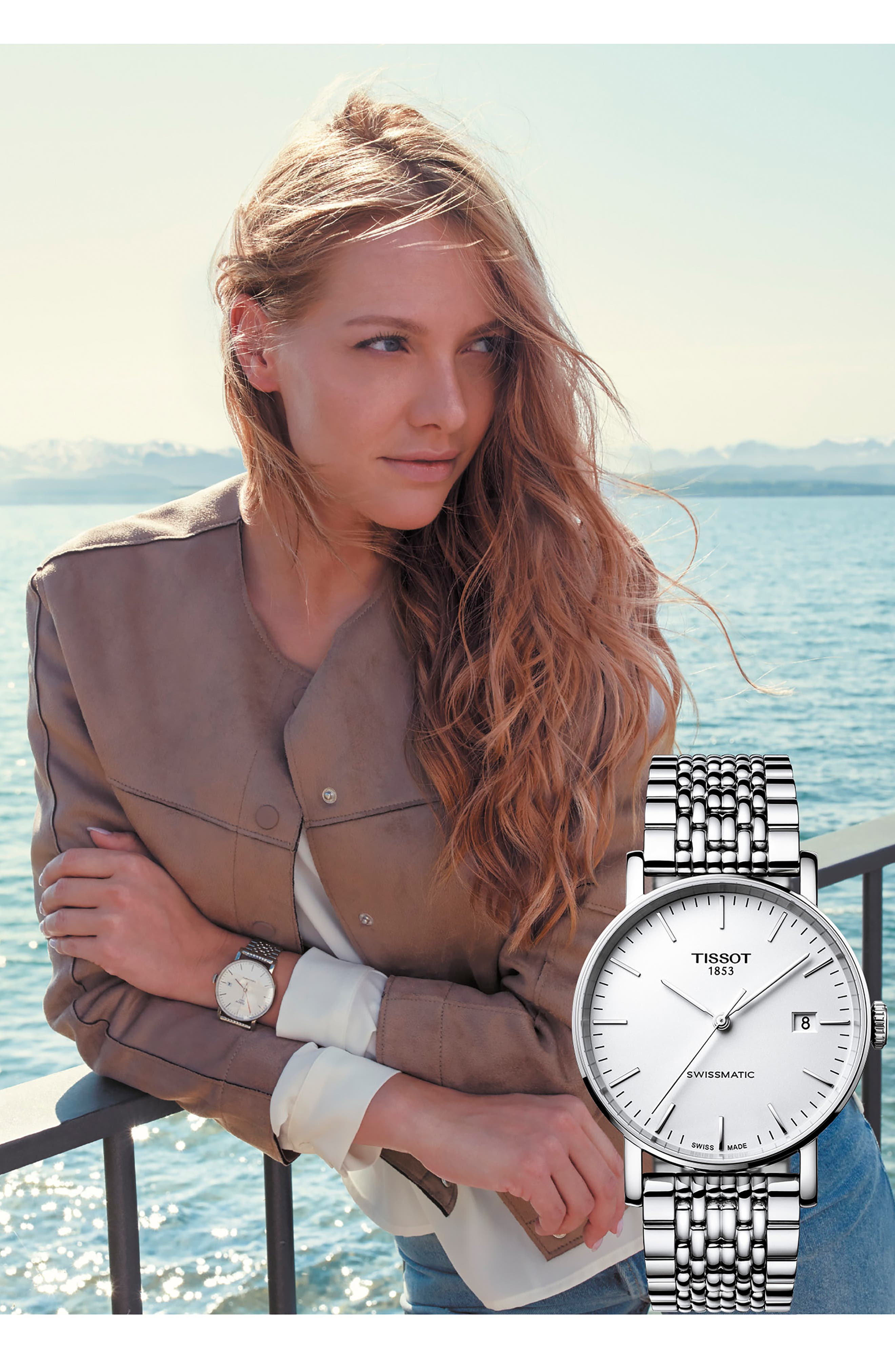 TISSOT,                             Everytime Swissmatic Automatic Bracelet Watch, 40mm,                             Alternate thumbnail 3, color,                             SILVER/ WHITE/ SILVER