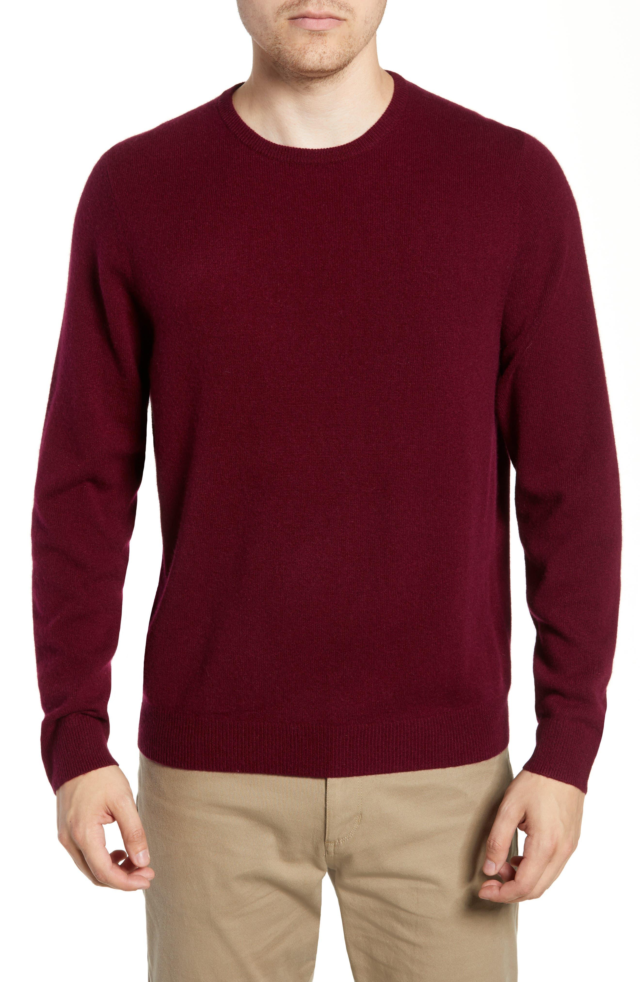 Nordstrom Shop Cashmere Crewneck Sweater, Burgundy