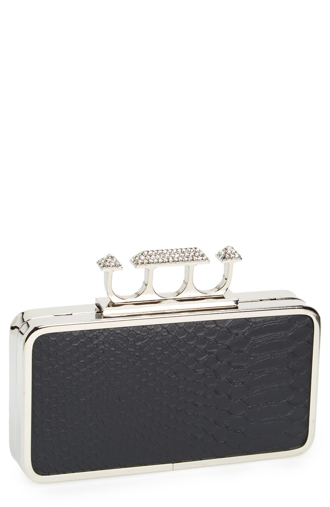 Couture Knuckle Clasp Clutch,                         Main,                         color, 001