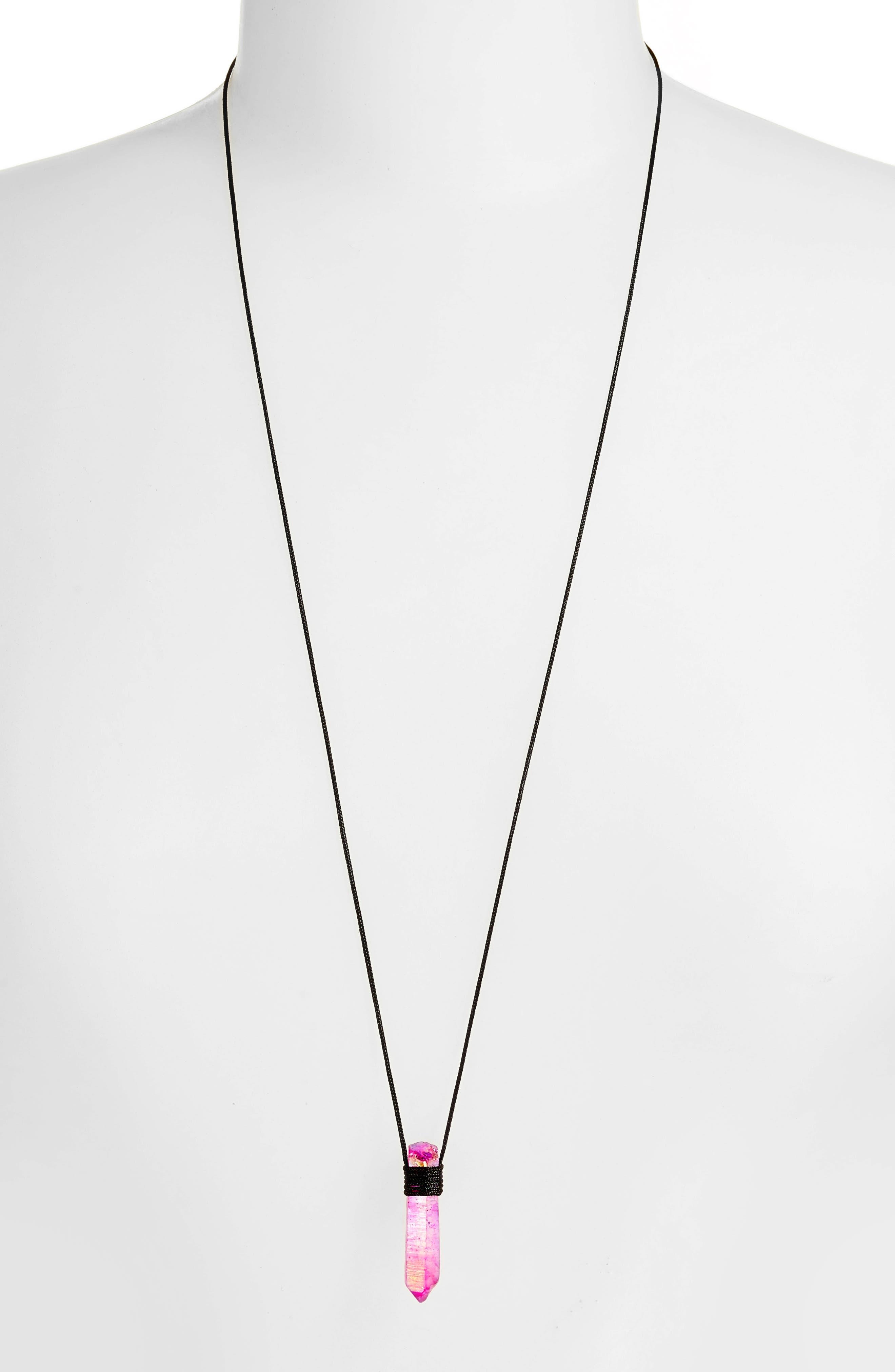Fuchsia Quartz Pendant Necklace,                             Alternate thumbnail 2, color,                             650