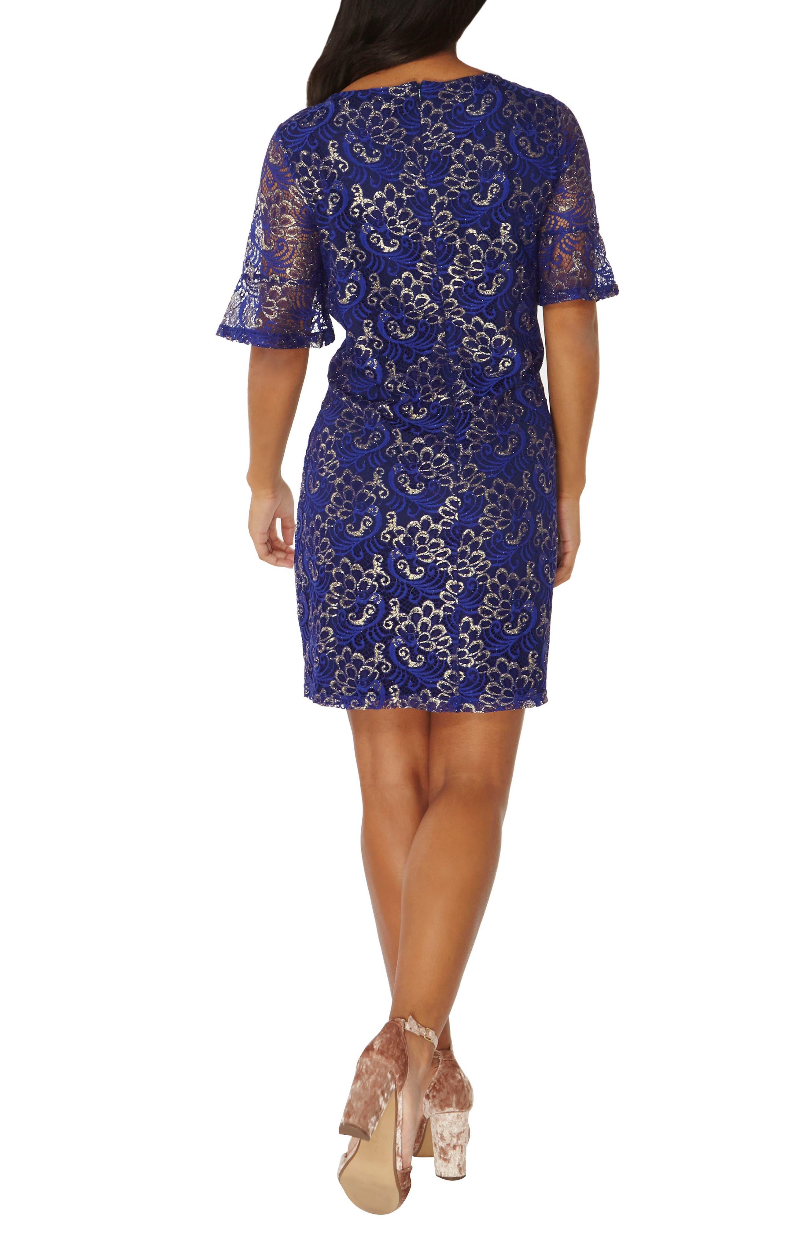Shimmer Lace Shift Dress,                             Alternate thumbnail 2, color,                             400