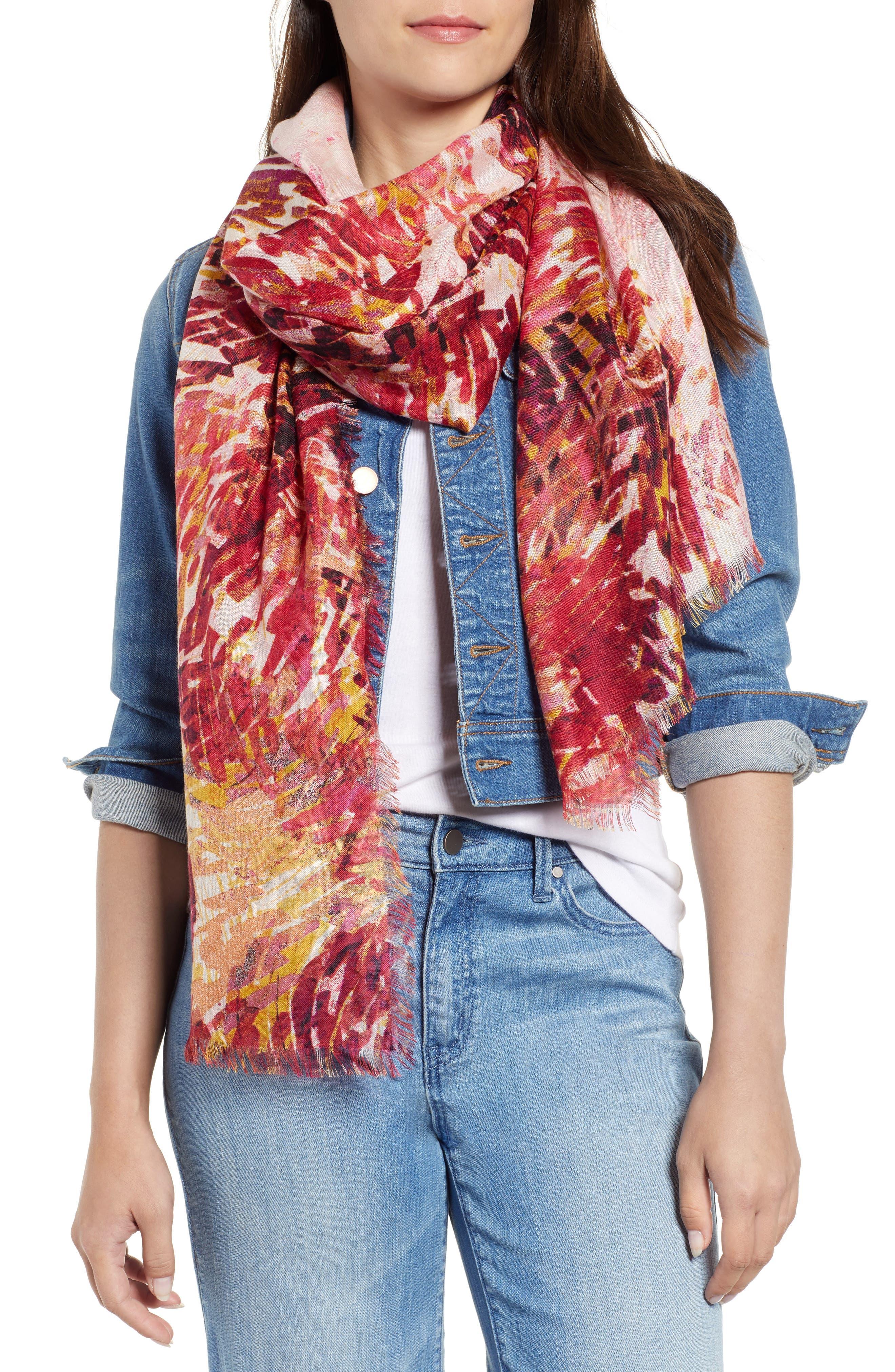 Eyelash Trim Print Cashmere & Silk Wrap,                             Main thumbnail 23, color,
