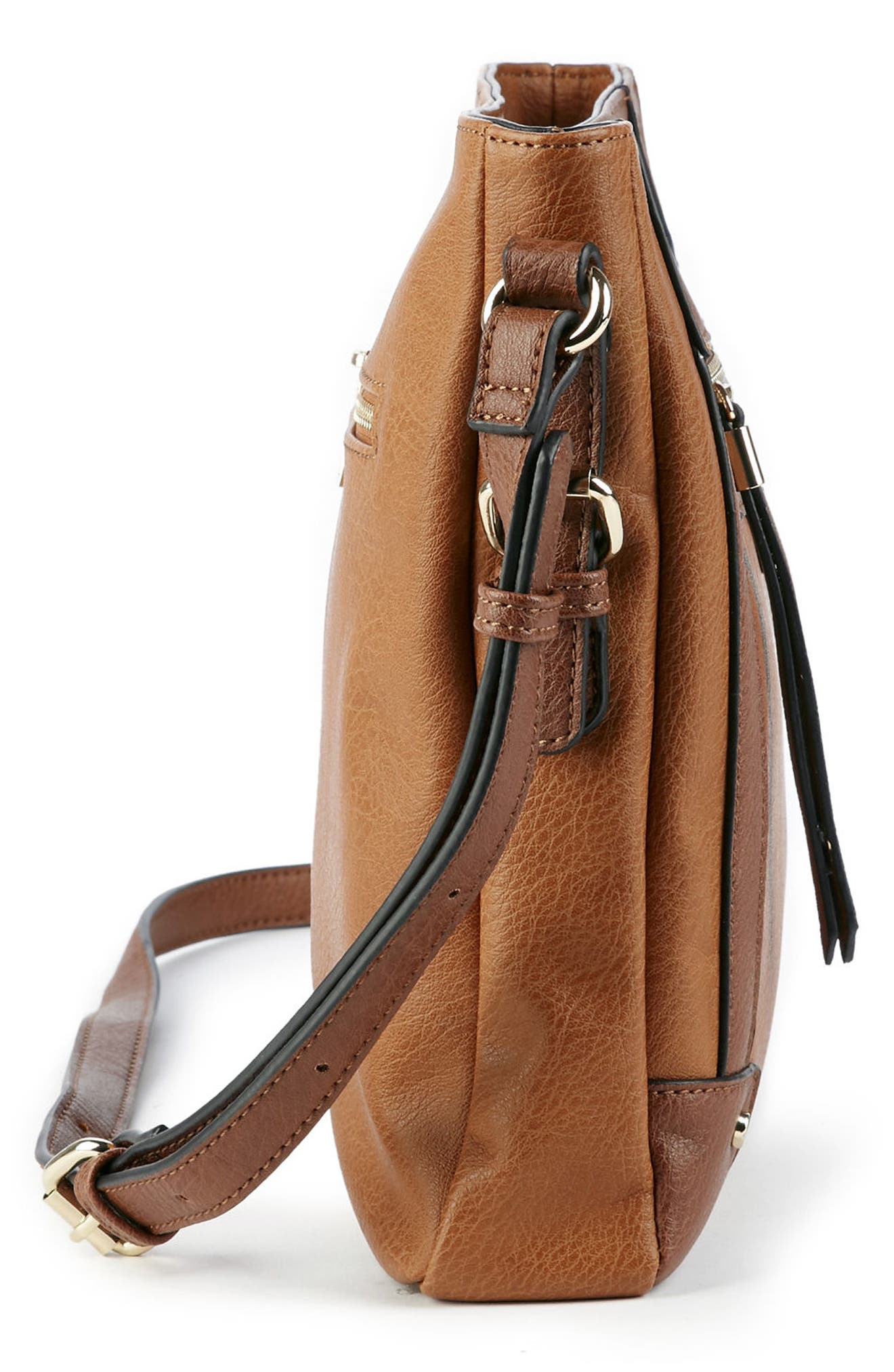 Essential Flat Faux Leather Crossbody Bag,                             Alternate thumbnail 10, color,