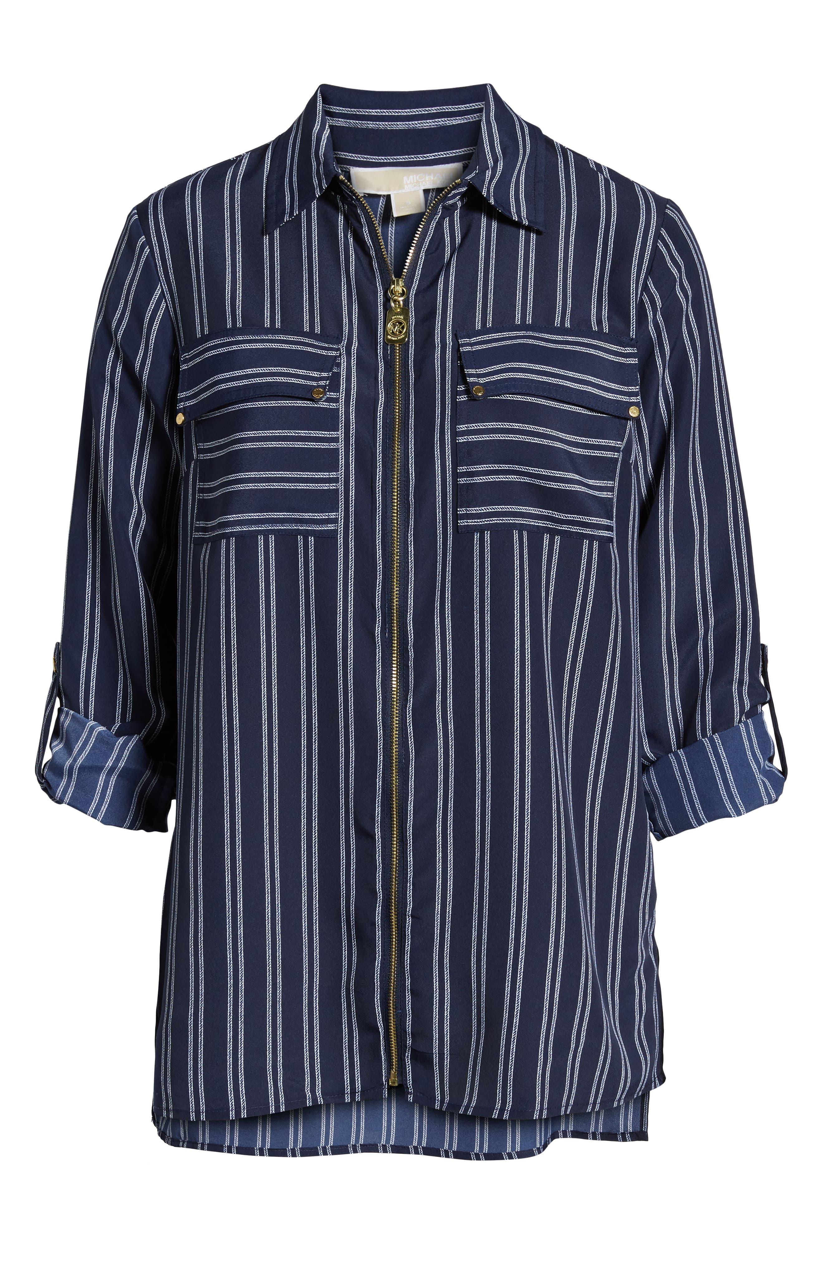 MICHAEL Michael Kors Bengal Striped Shirt,                             Alternate thumbnail 6, color,                             TRUE NAVY