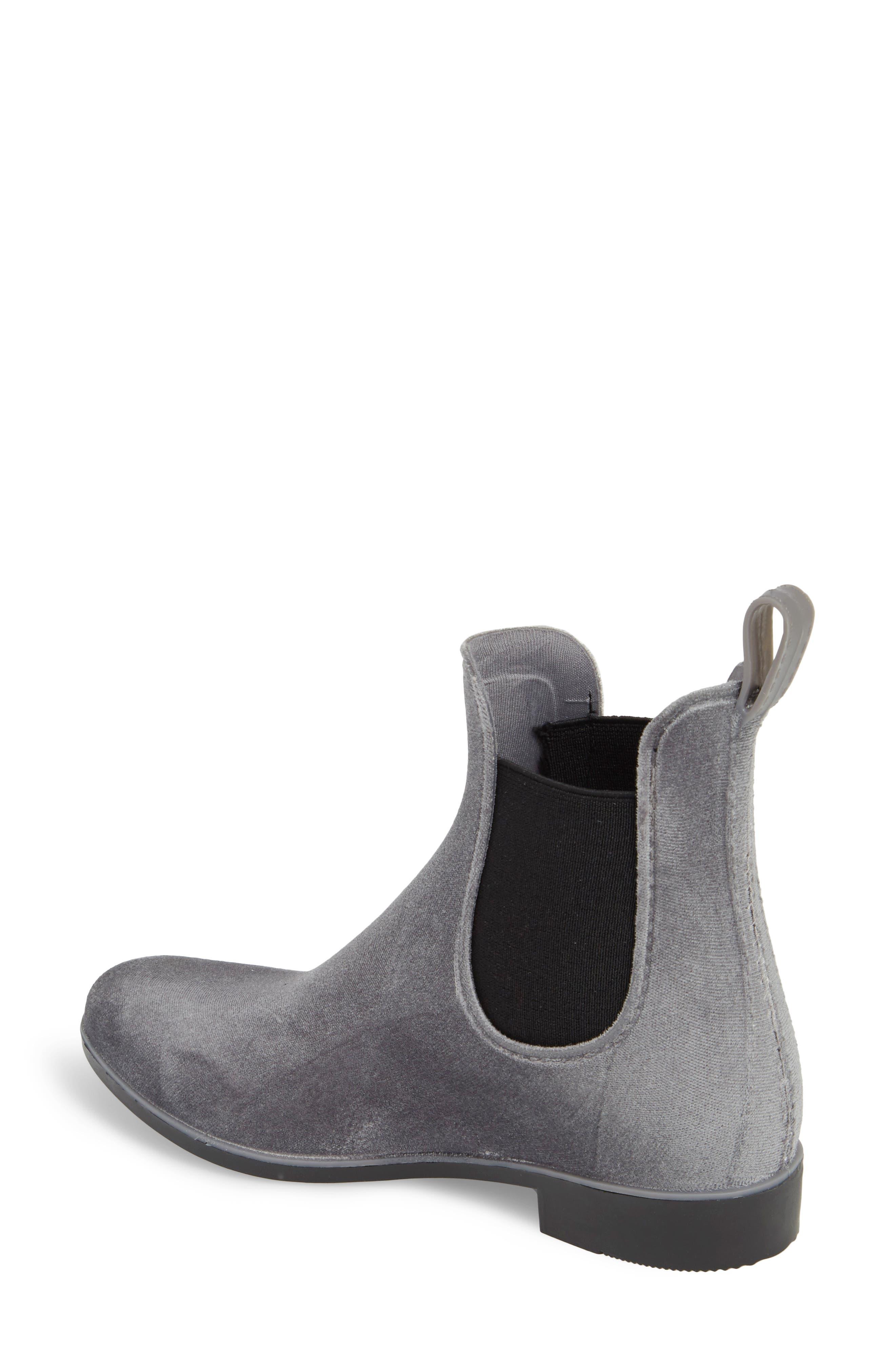 Waterproof Velvet Chelsea Rain Boot,                             Alternate thumbnail 2, color,                             GRAY