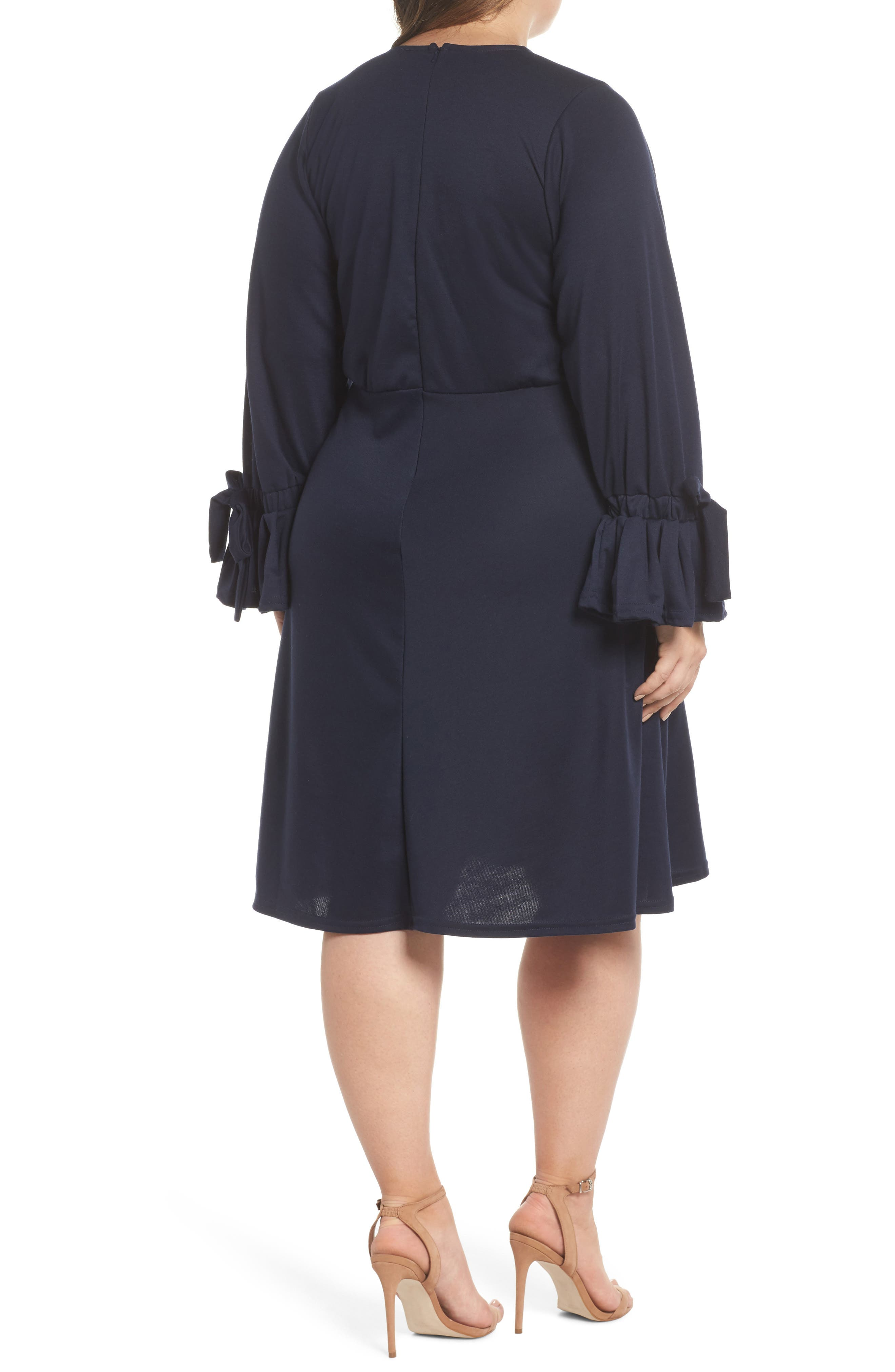 Bell Sleeve Fit & Flare Dress,                             Alternate thumbnail 2, color,