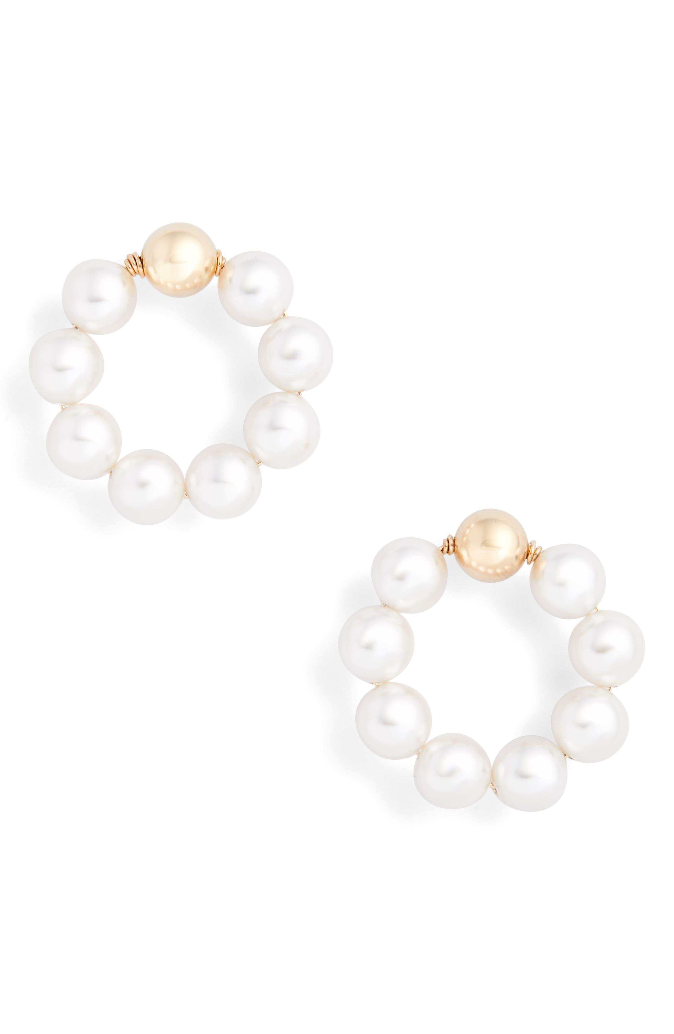 BECK JEWELS Og Beaded Hoop Earrings in White Pearl