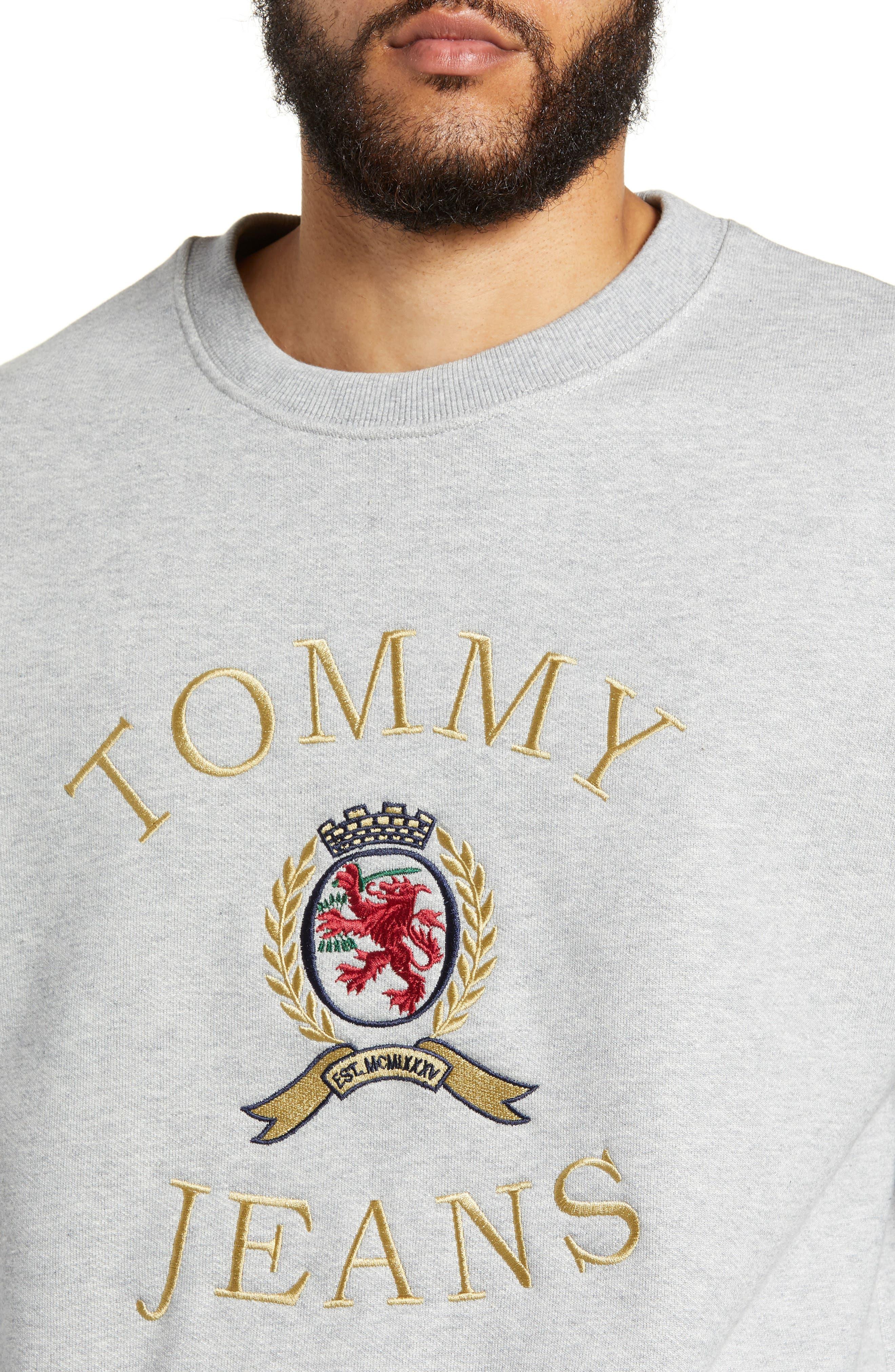 Embroidered Crest Sweatshirt,                             Alternate thumbnail 4, color,                             GREY HTR